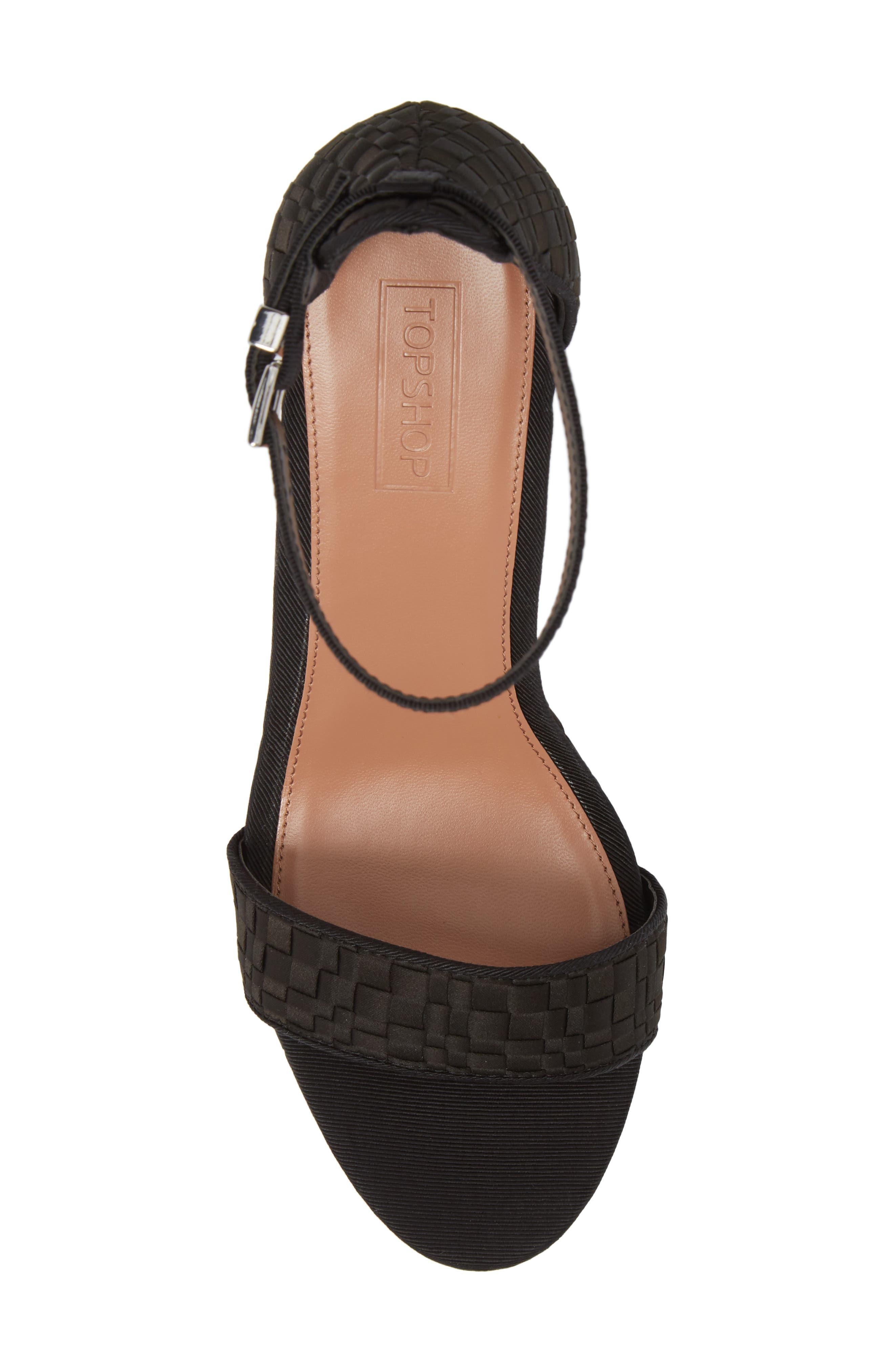 Sloane Woven Platform Sandal,                             Alternate thumbnail 5, color,                             Black
