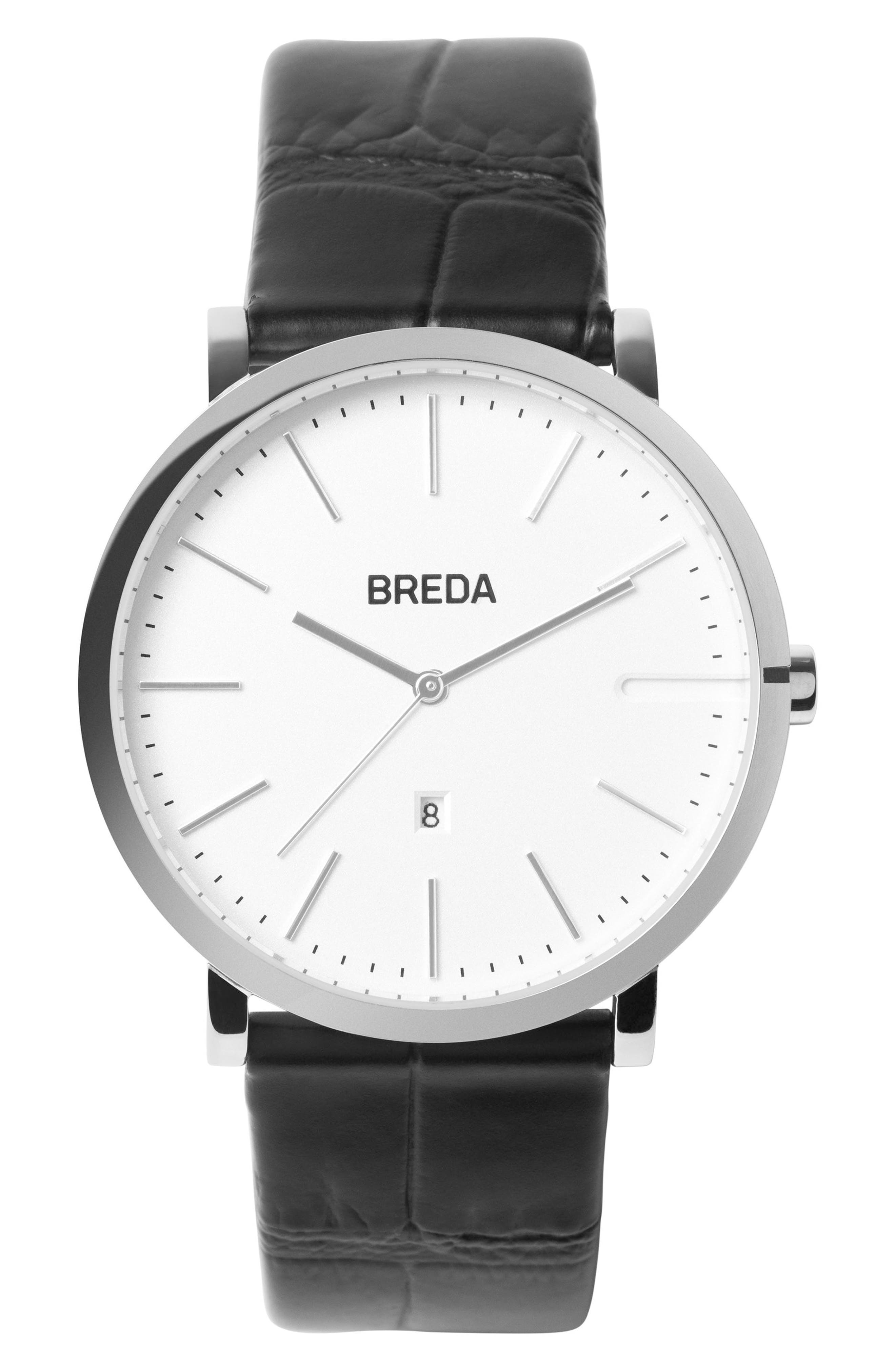 Breuer Leather Strap Watch, 39mm,                         Main,                         color, Black/ Silver