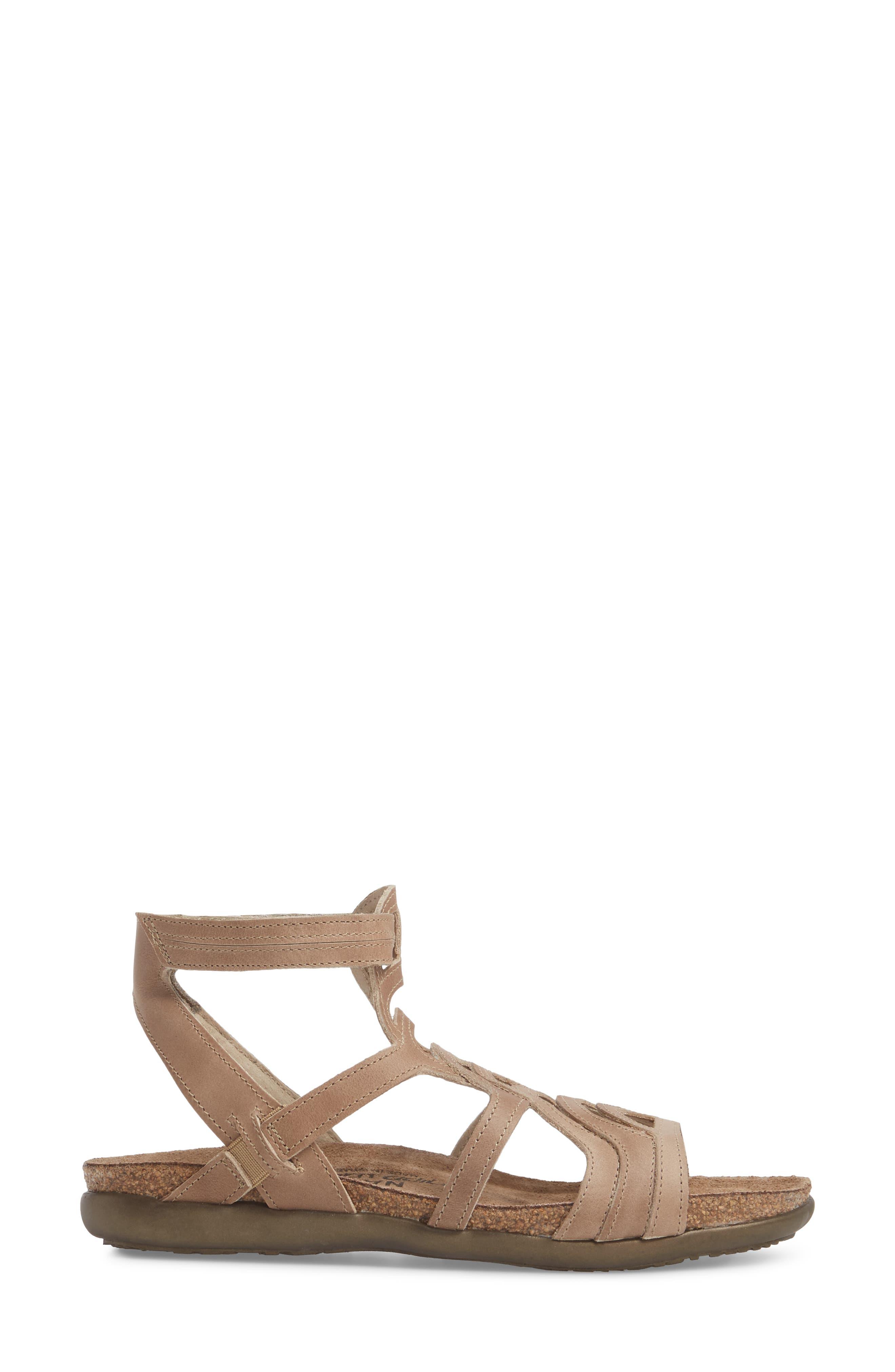 'Sara' Gladiator Sandal,                             Alternate thumbnail 3, color,                             Khaki Beige Leather