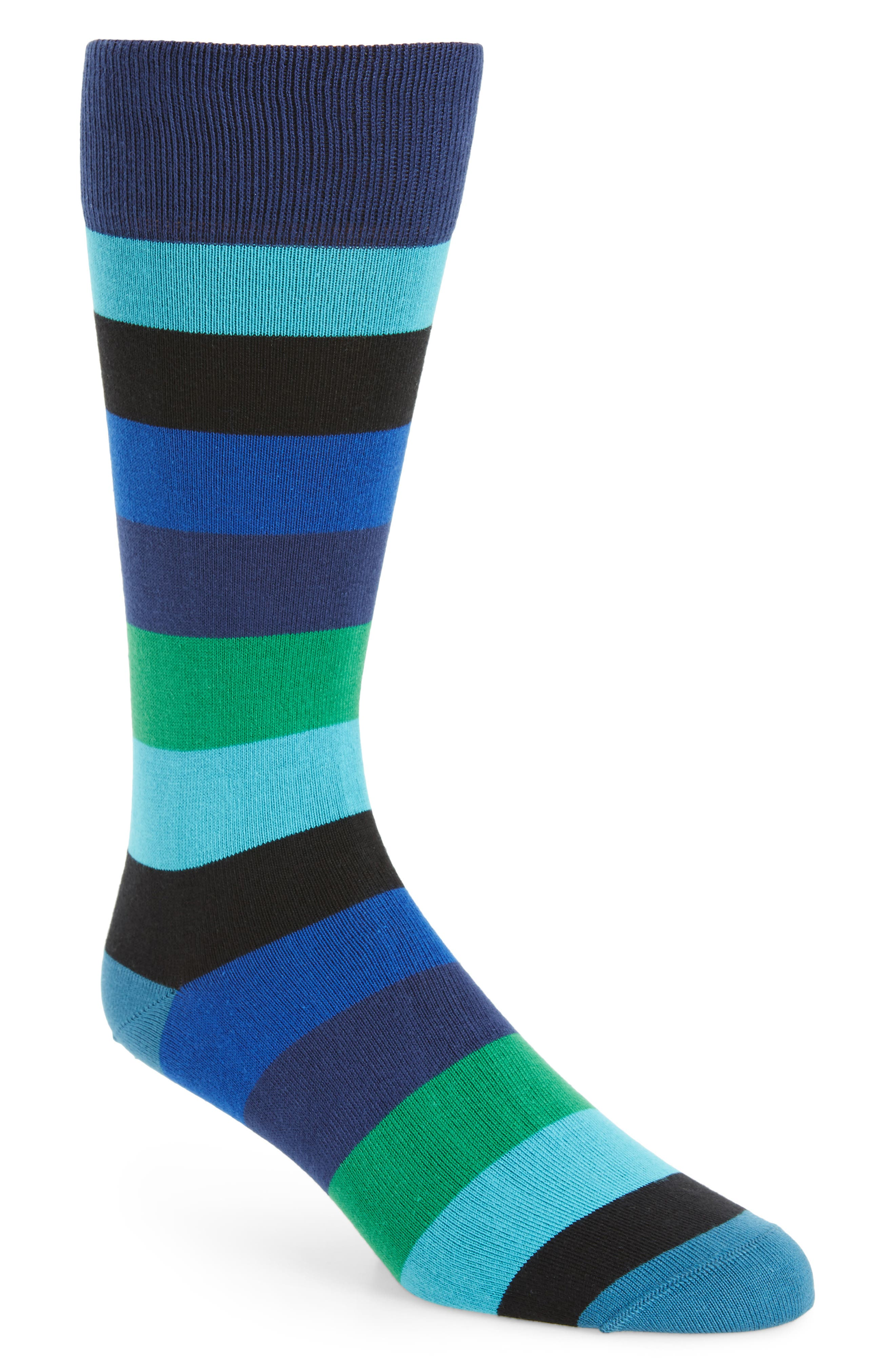 Buxton Stripe Socks,                         Main,                         color, Blue/ Green Multi