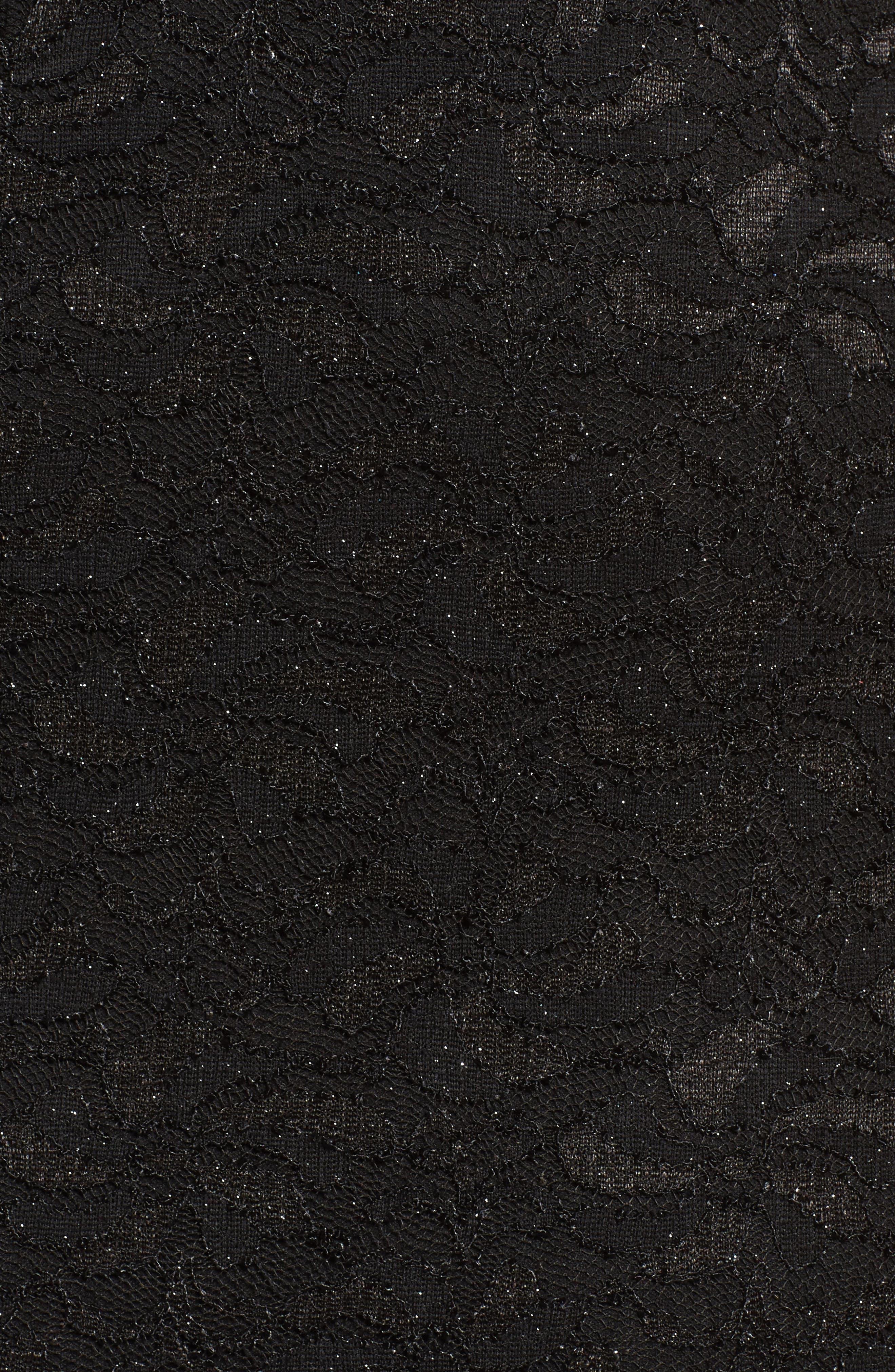 Plunge Lace Trumpet Gown,                             Alternate thumbnail 5, color,                             Black