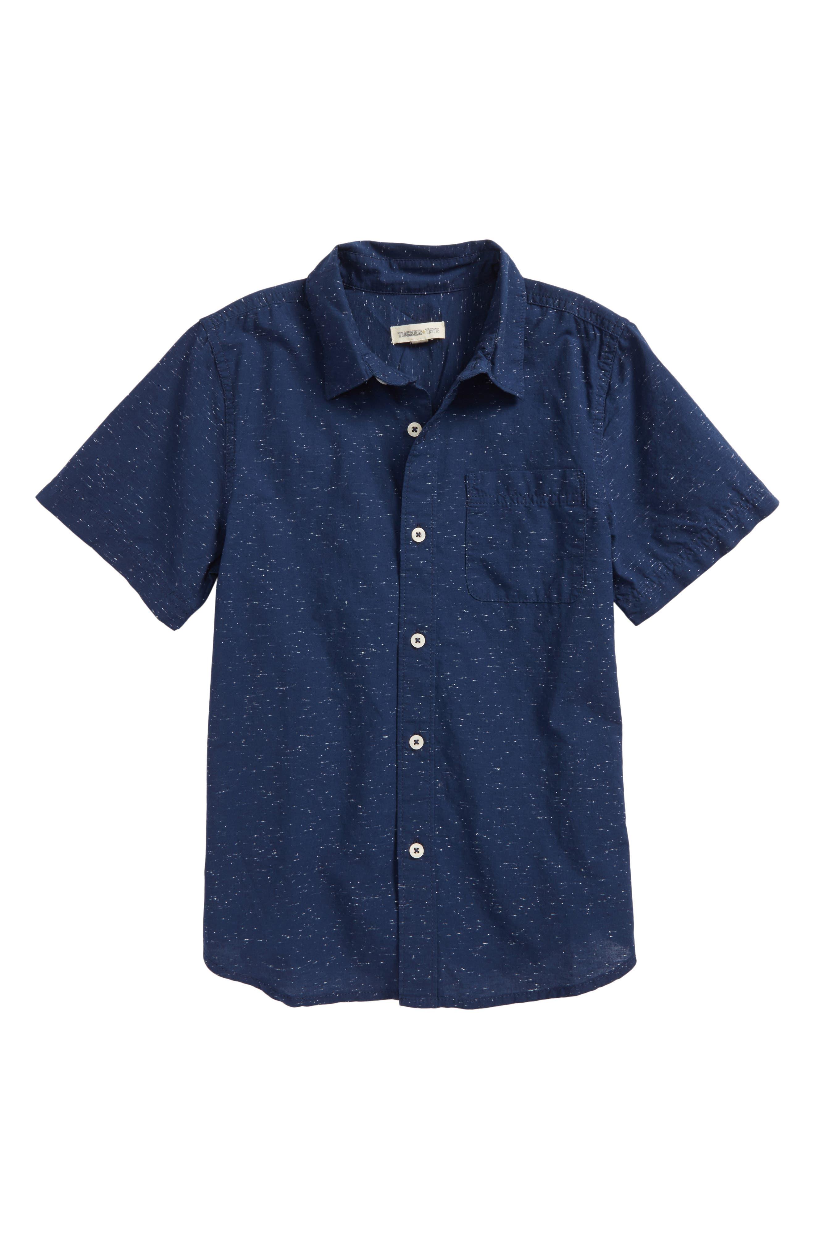 Slub Woven Shirt,                         Main,                         color, Navy Denim