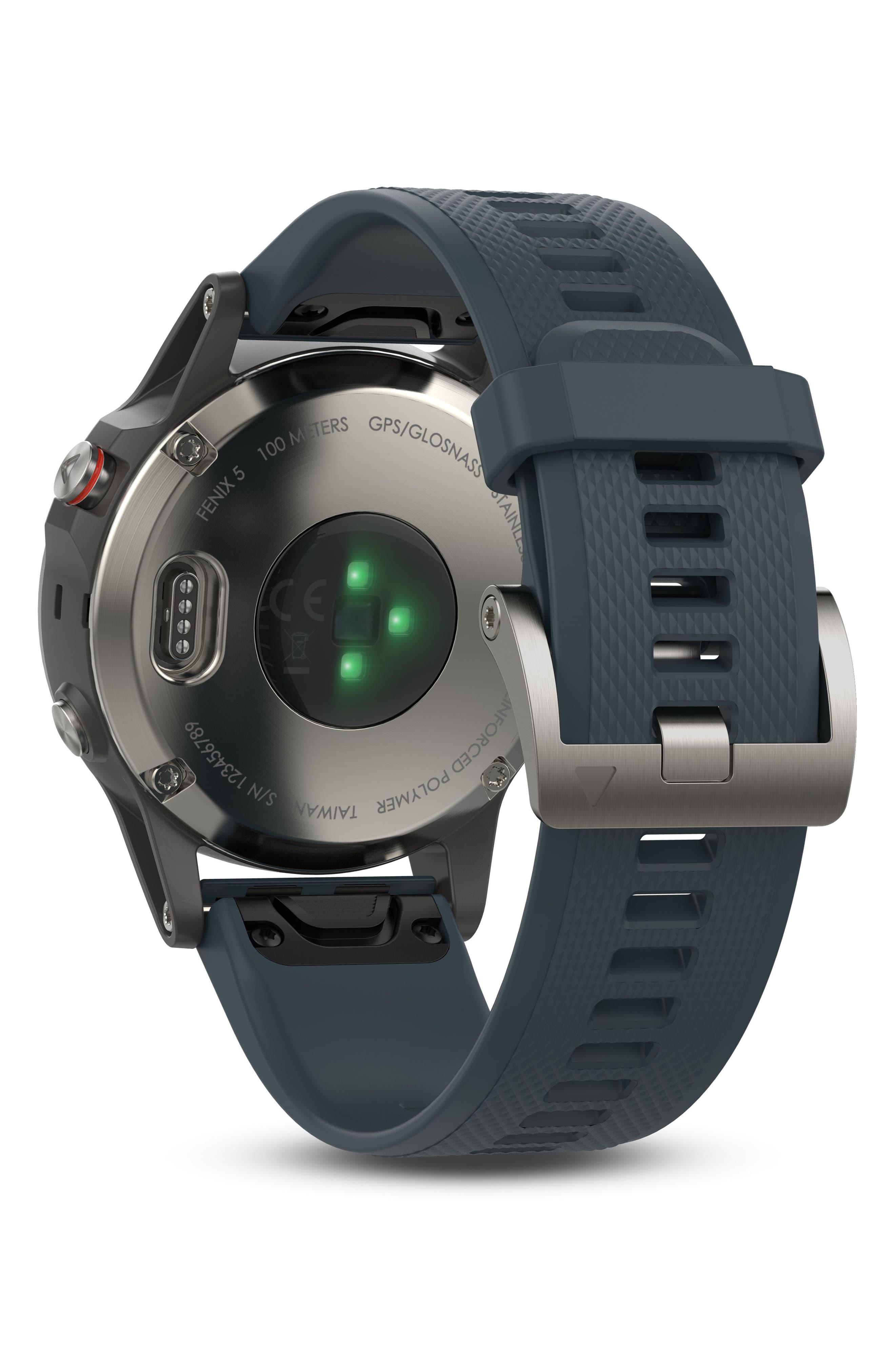 fenix<sup>®</sup> 5 Premium Multisport GPS Watch, 47mm,                             Alternate thumbnail 5, color,                             Granite Blue/ Silver