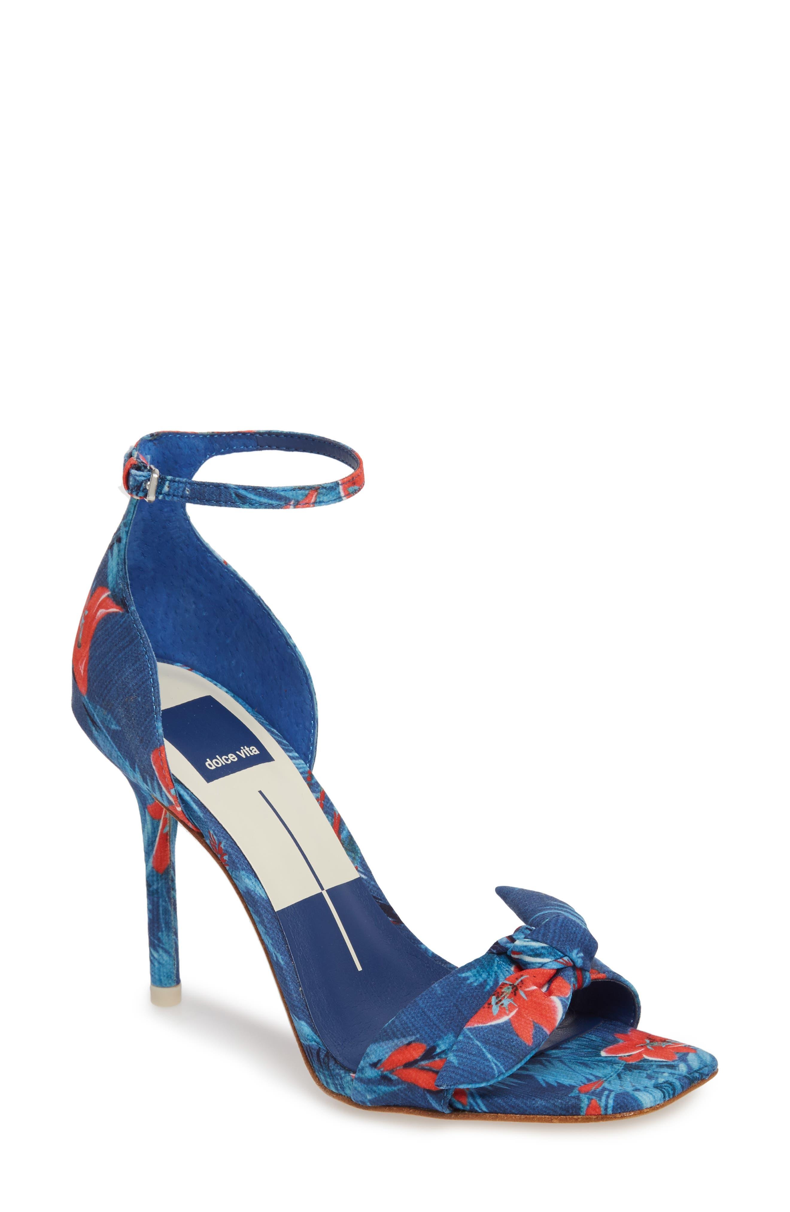 Helana Knotted Sandal,                         Main,                         color, Blue Multi