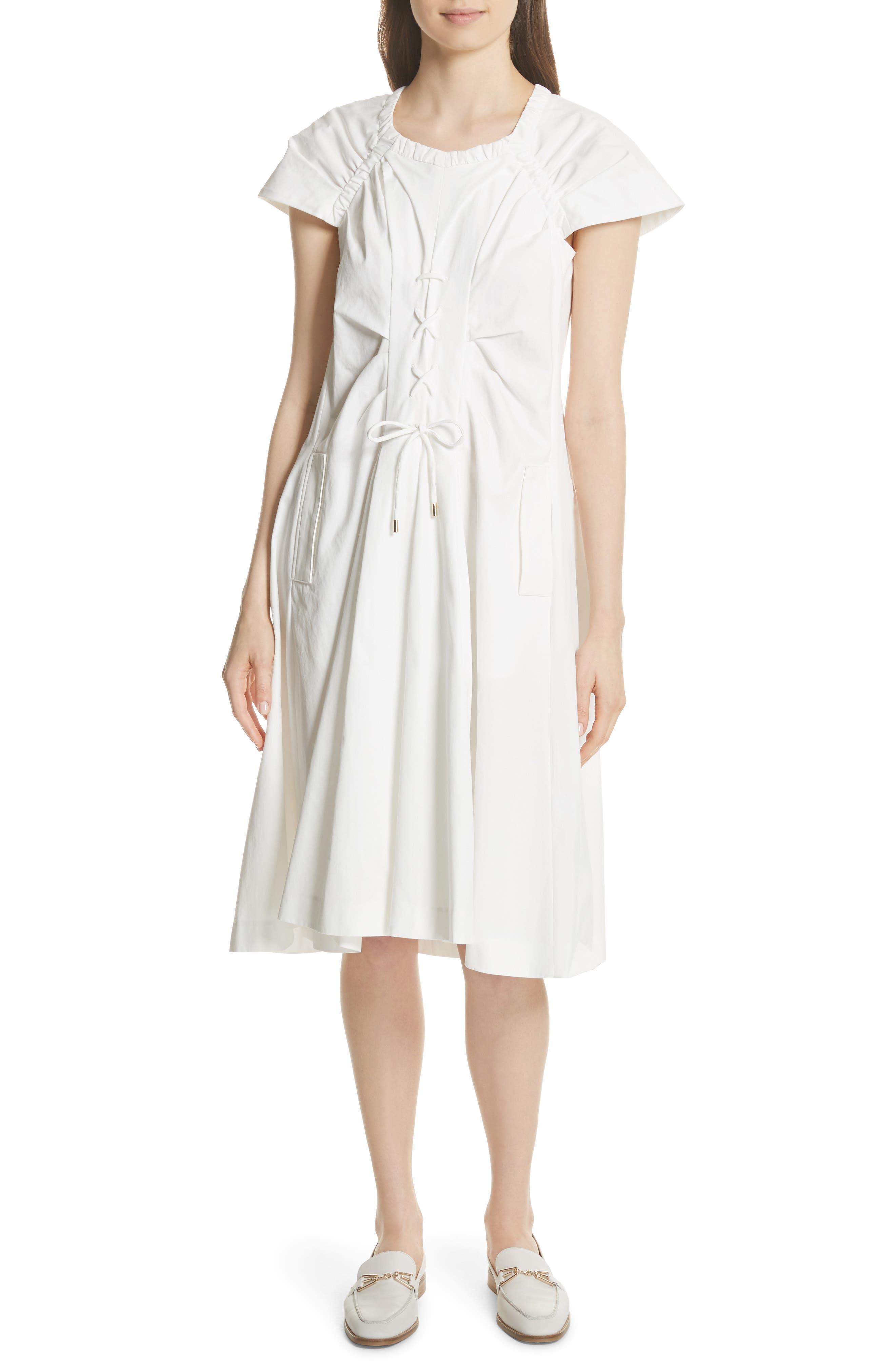 Lace Up Front Poplin Dress,                             Main thumbnail 1, color,                             Blanc Antique