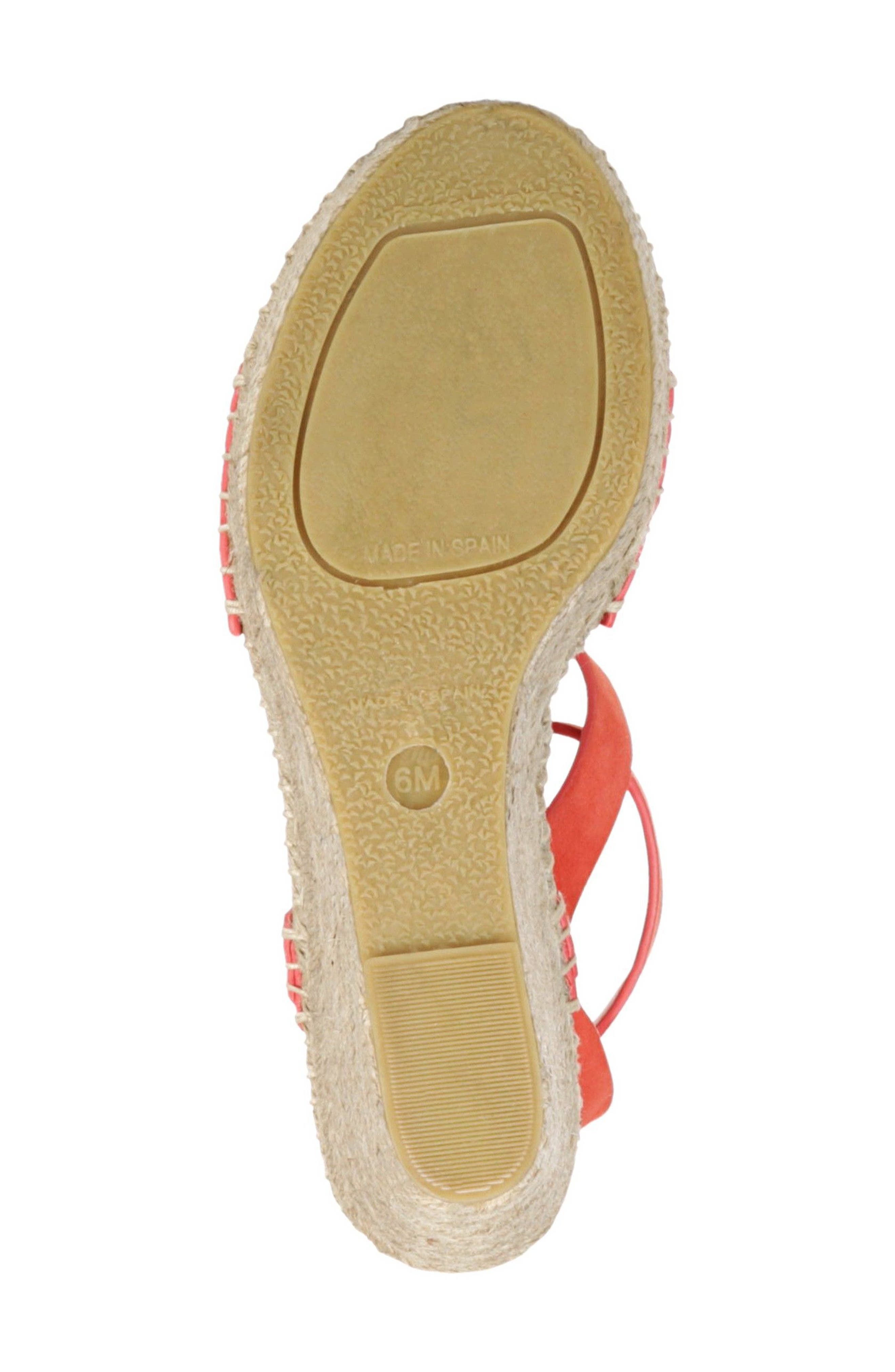 Nevada Espadrille Wedge Sandal,                             Alternate thumbnail 6, color,                             Poppy Red Suede