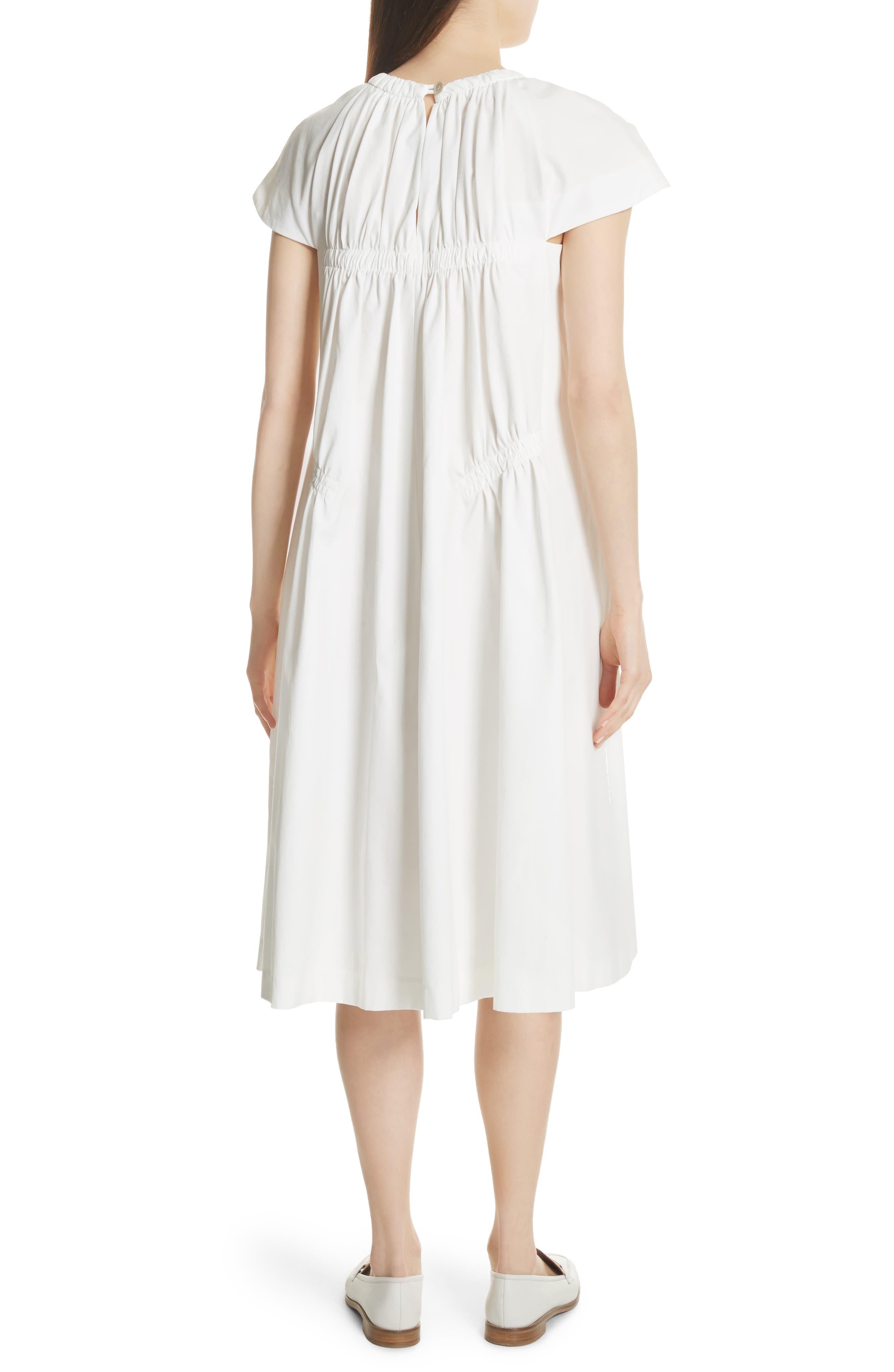 Lace Up Front Poplin Dress,                             Alternate thumbnail 2, color,                             Blanc Antique