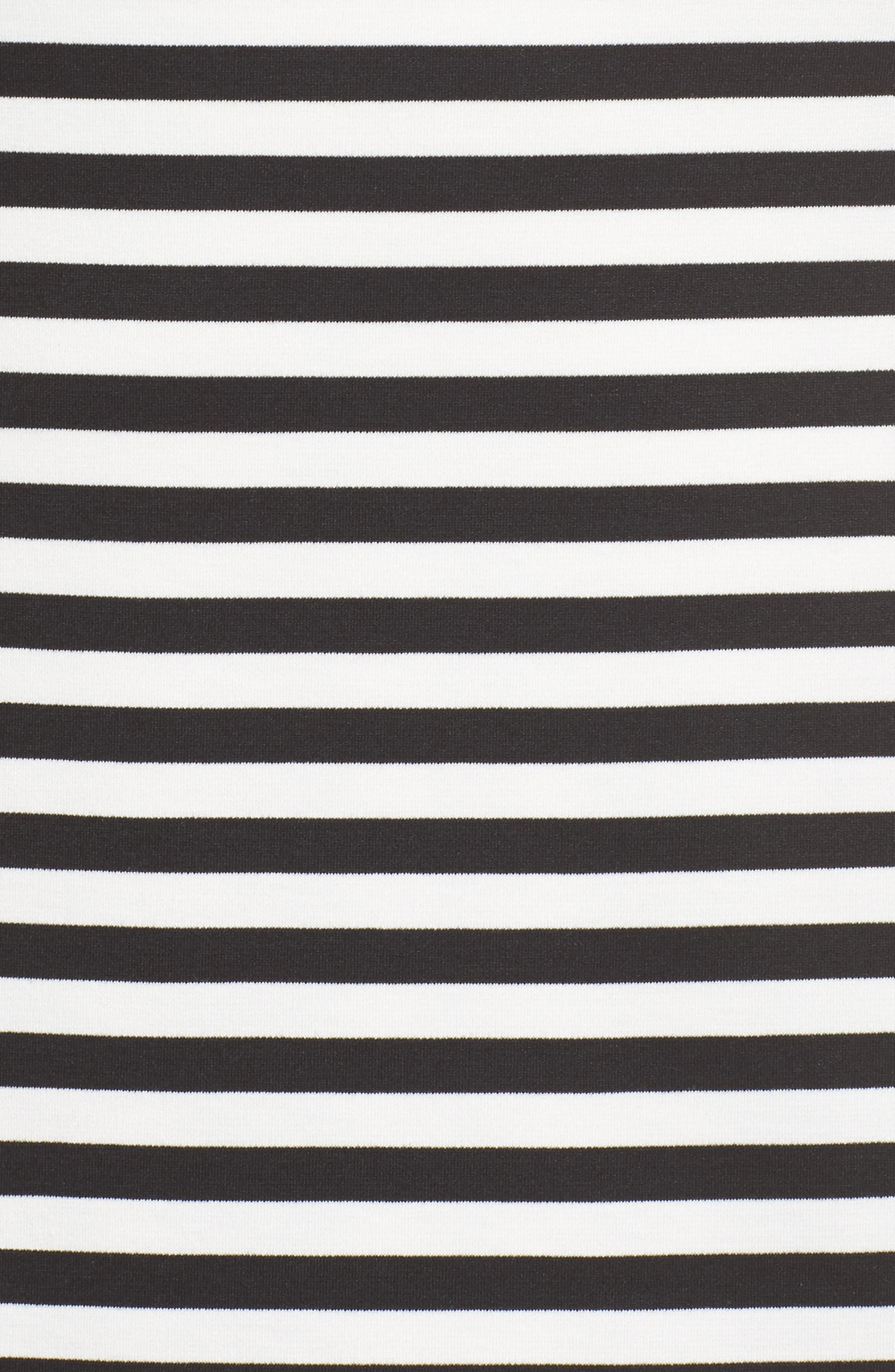 Godet Body-Con Dress,                             Alternate thumbnail 5, color,                             Black/ Ivory
