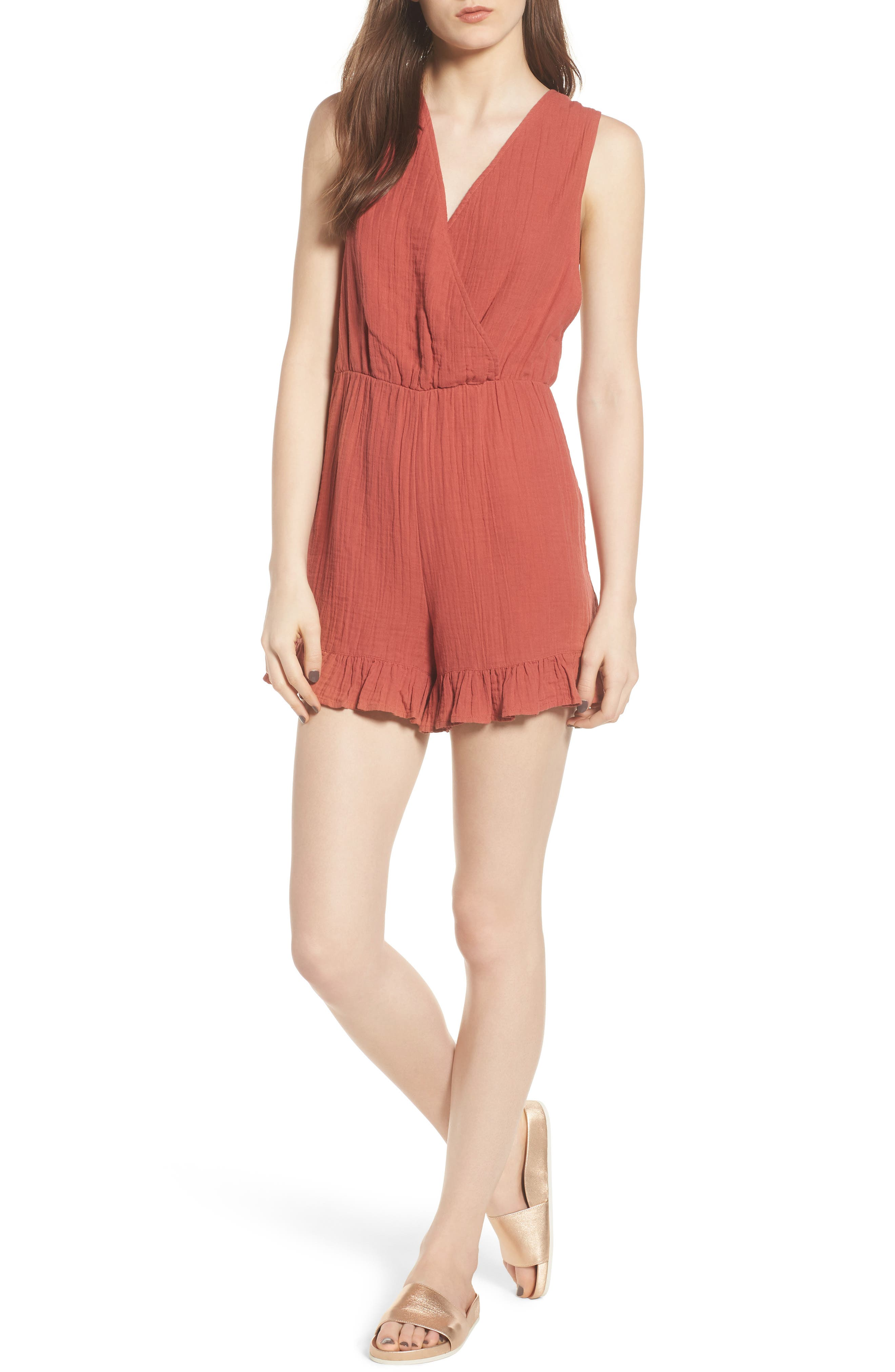 Easy Cotton Romper,                             Main thumbnail 1, color,                             Rust Marsala