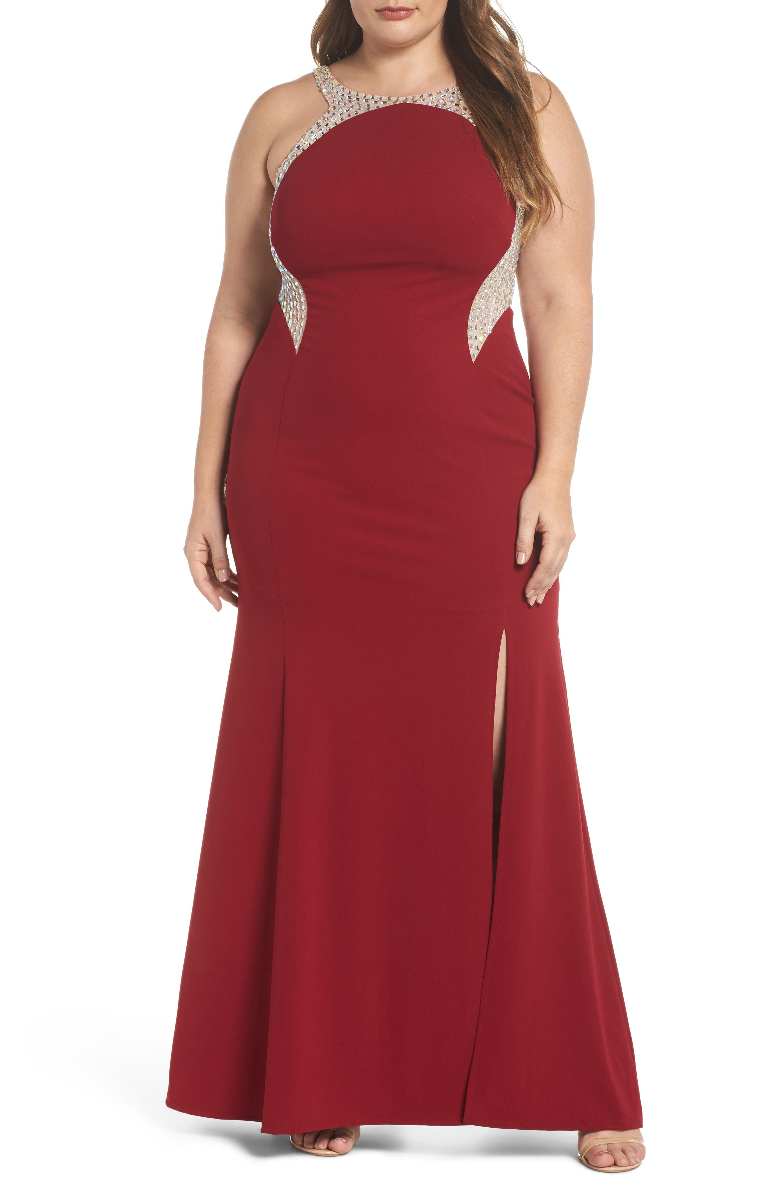 Embellished Illusion Gown,                         Main,                         color, Wine