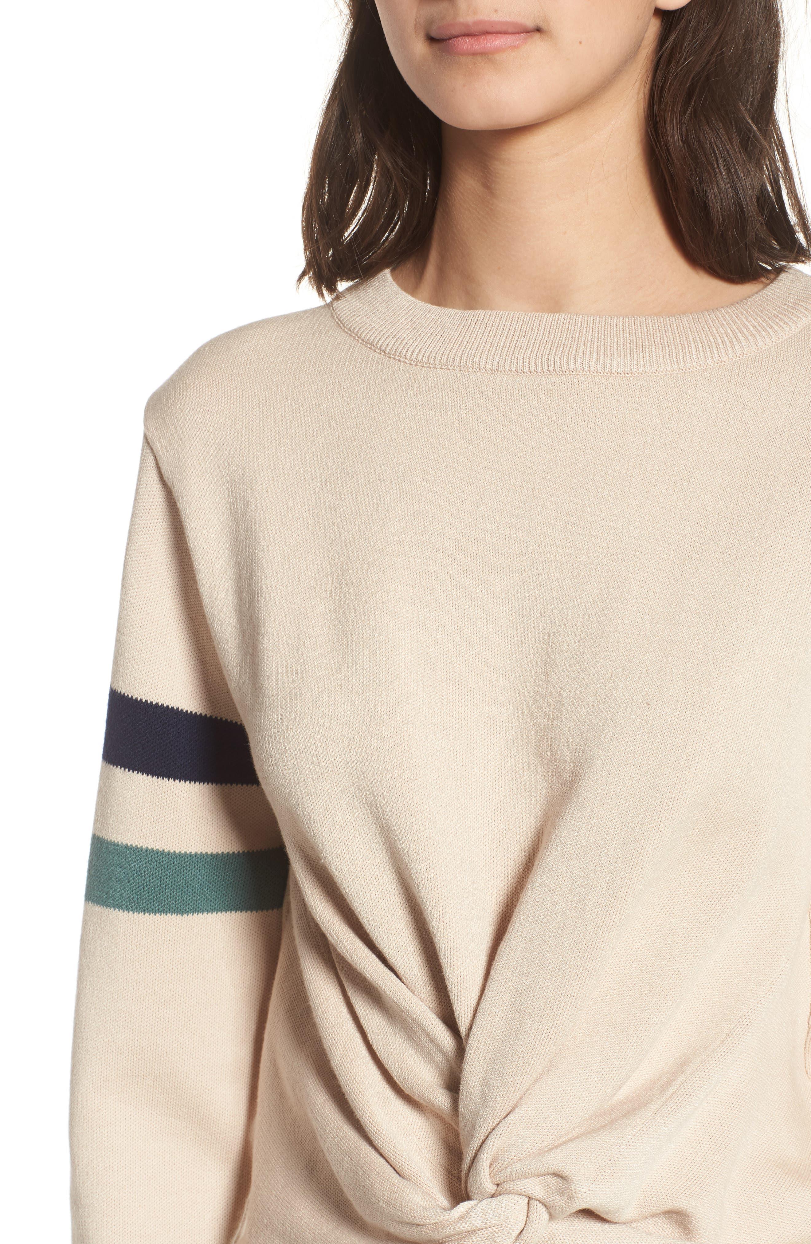 Twist Front Stripe Sleeve Sweatshirt,                             Alternate thumbnail 4, color,                             Ivory