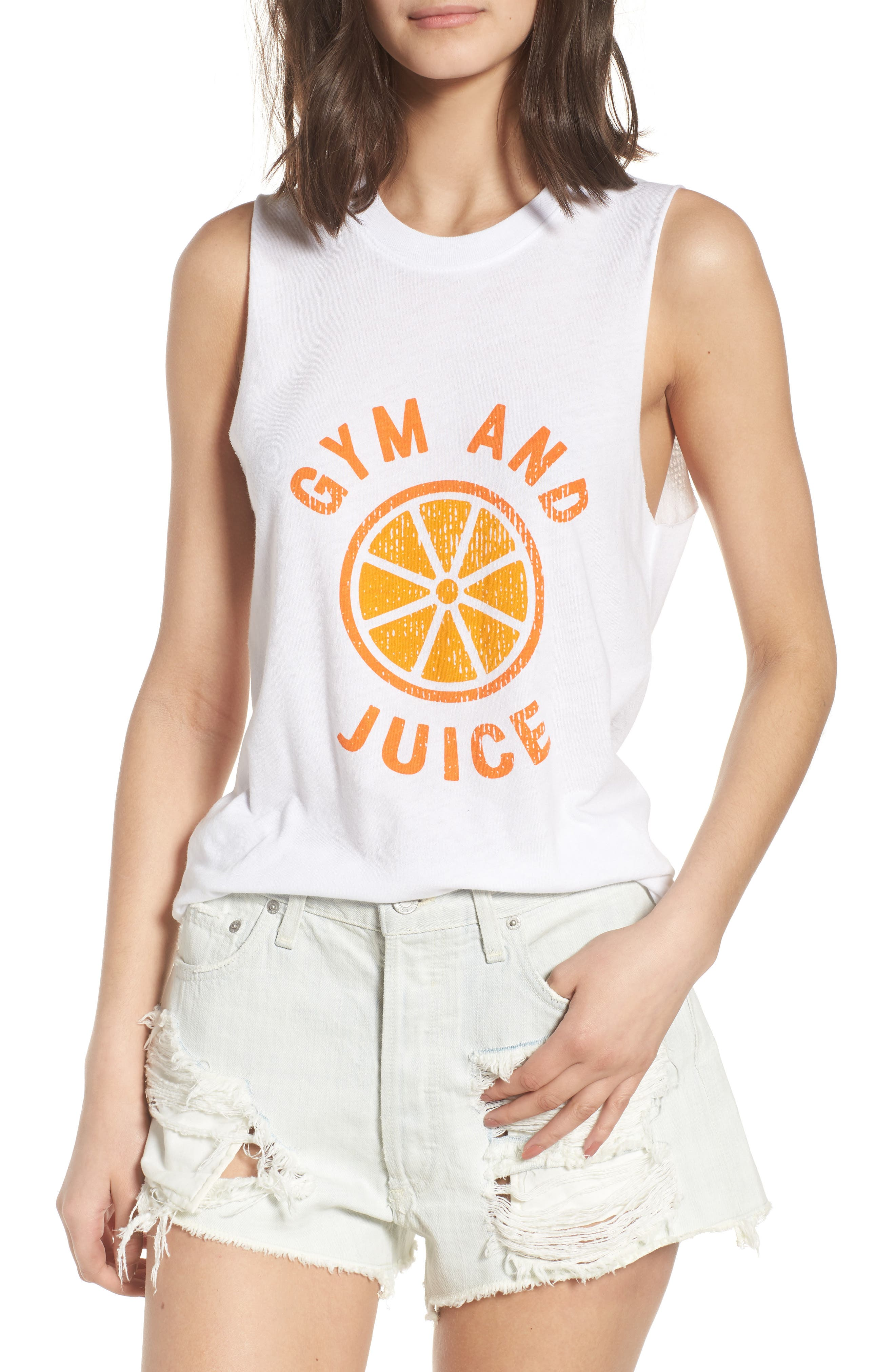 Gym and Juice Muscle Tank Top,                             Main thumbnail 1, color,                             White