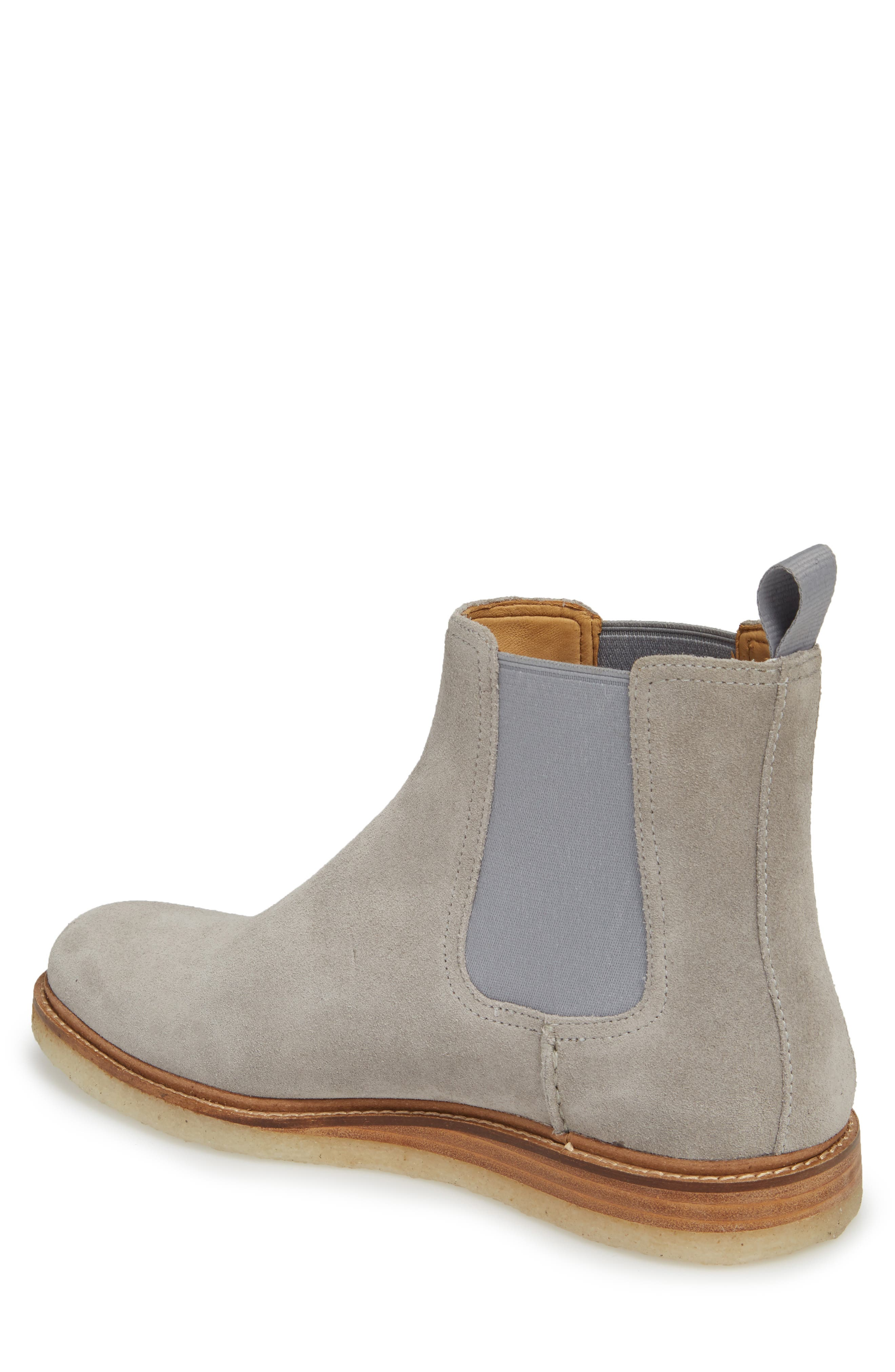 Gold Cup Crepe Chelsea Boot,                             Alternate thumbnail 2, color,                             Grey Leather/ Suede