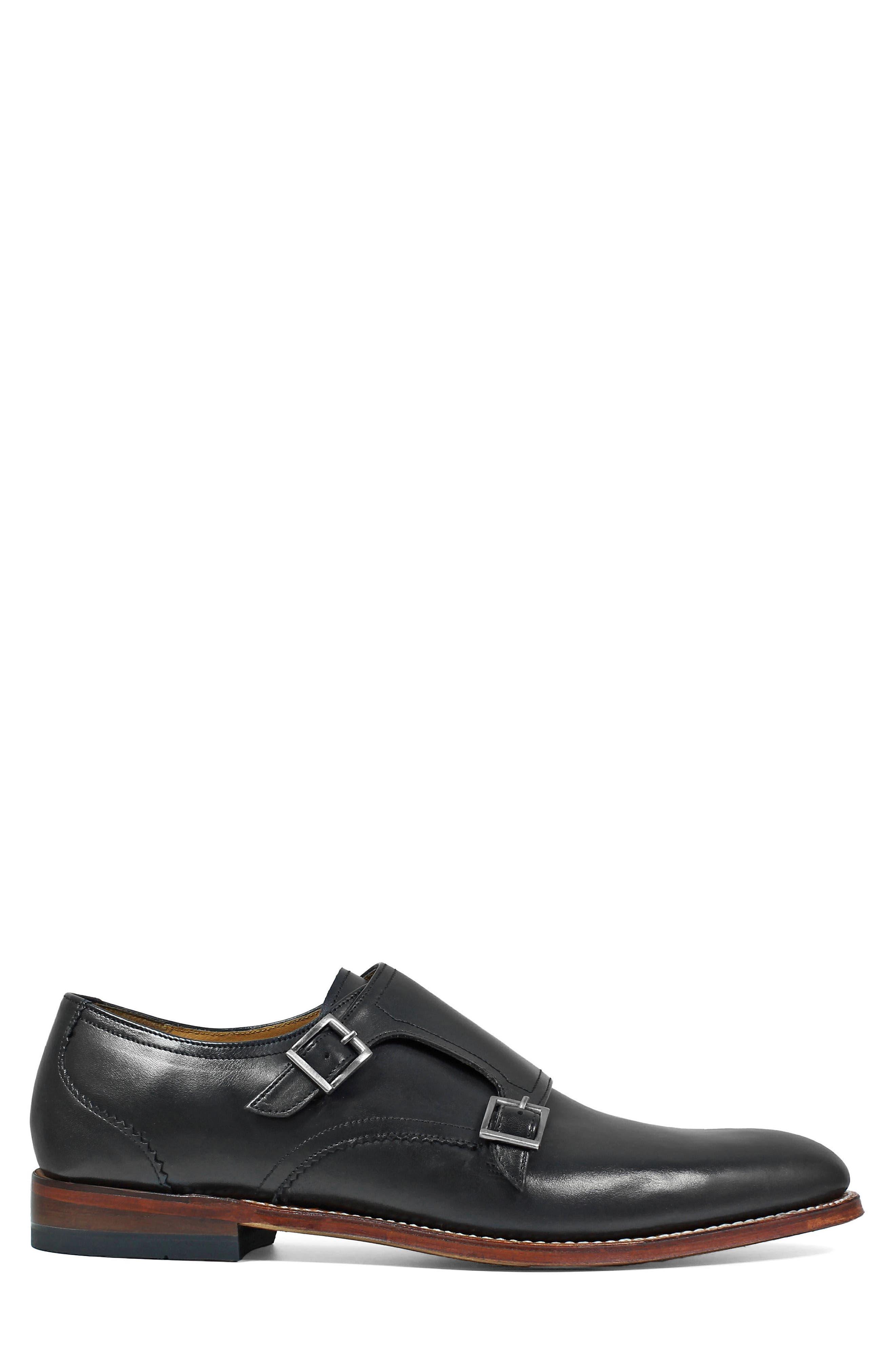 M2 Plain Toe Double Strap Monk Shoe,                             Alternate thumbnail 3, color,                             Black Leather