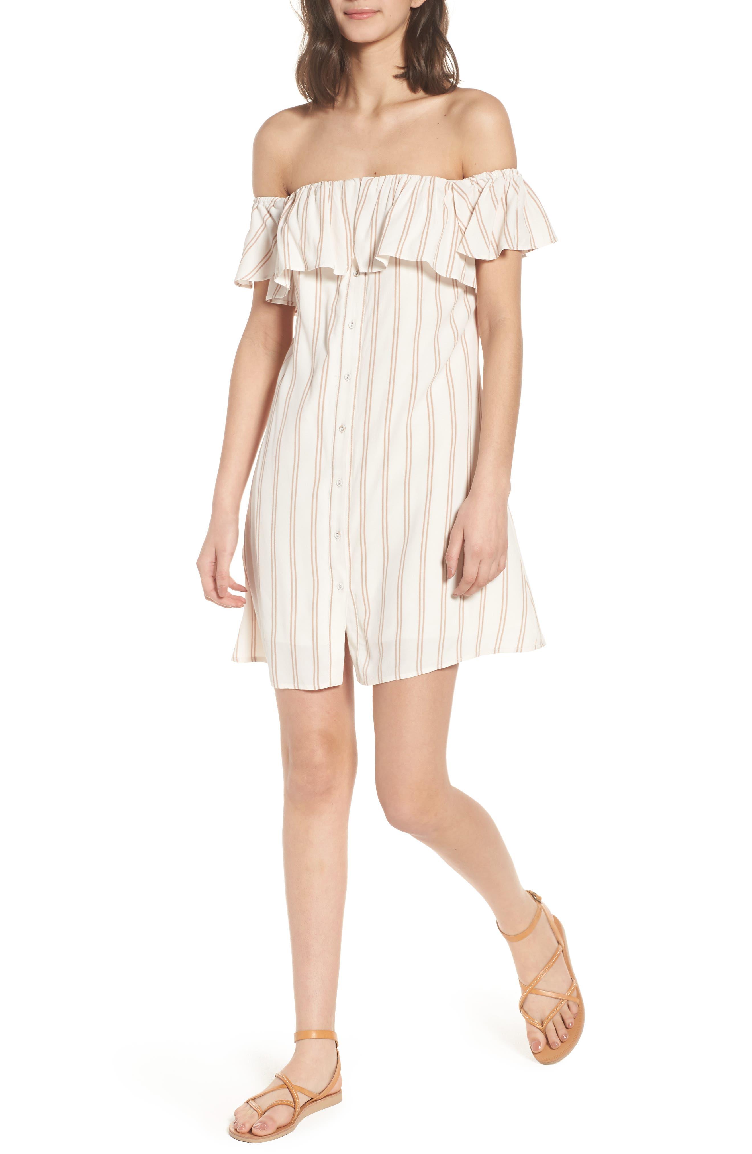 Stripe Off the Shoulder Dress,                         Main,                         color, Ivory Egret Emily Stripe