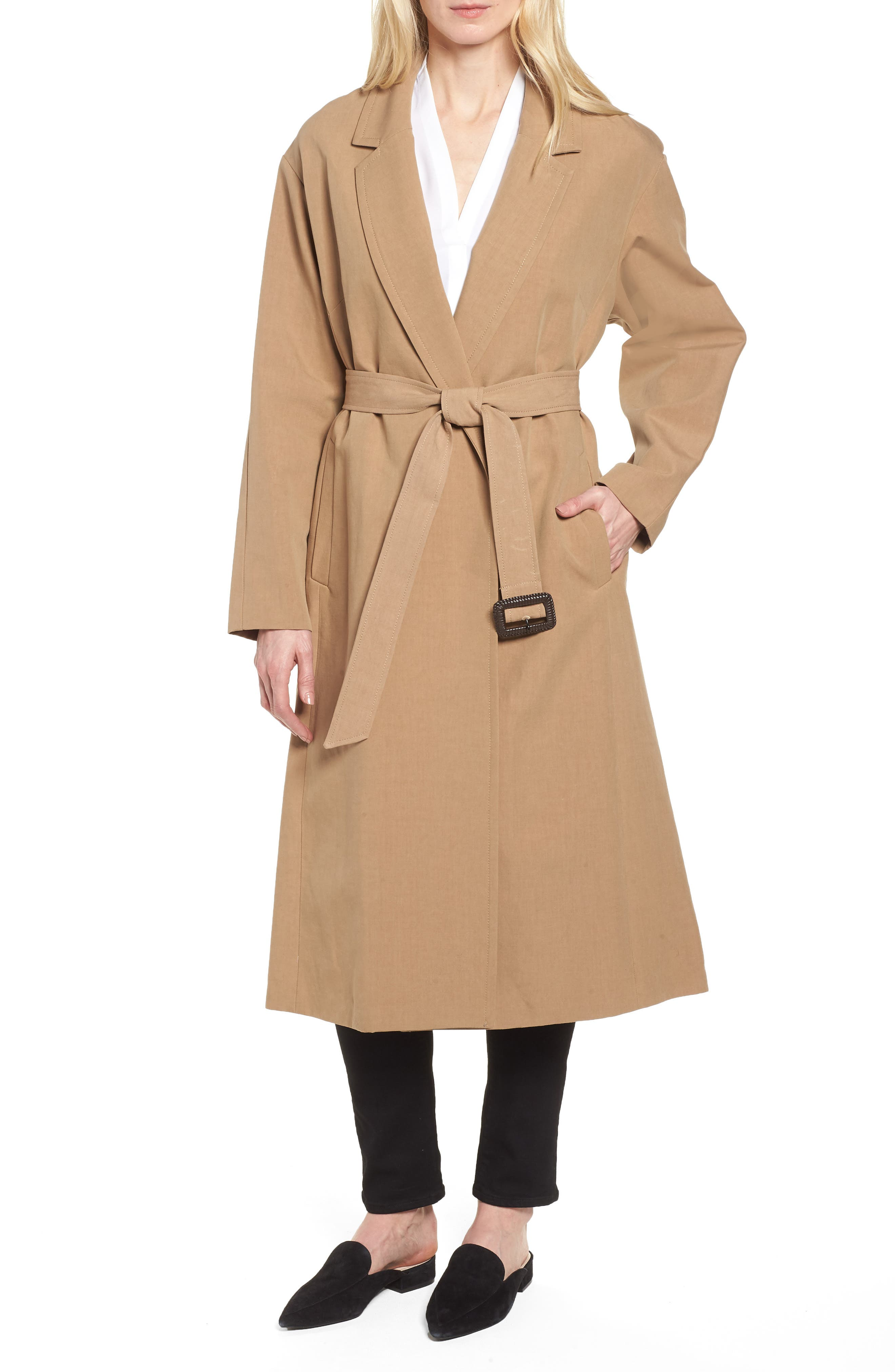 Double Face Wrap Maxi Jacket,                         Main,                         color, Toffee