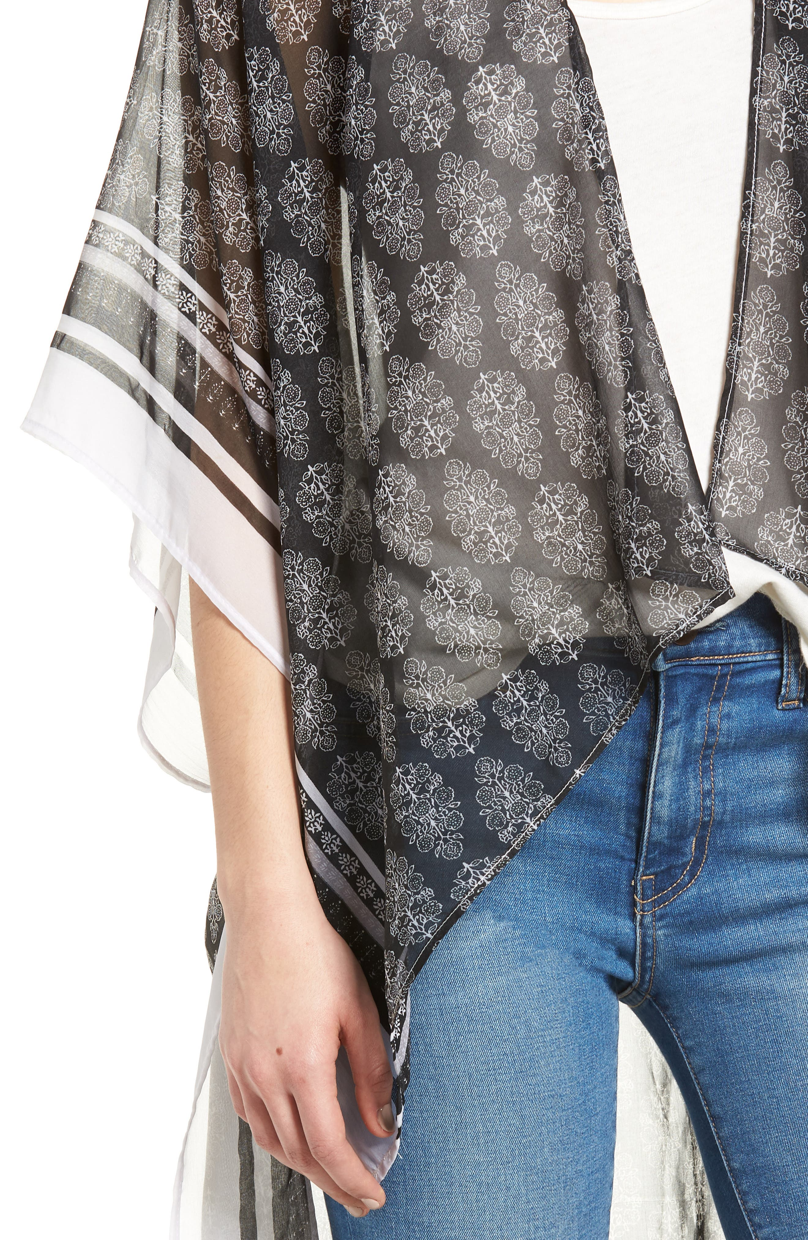 Woodblock Paisley High/Low Poncho,                             Alternate thumbnail 4, color,                             Black