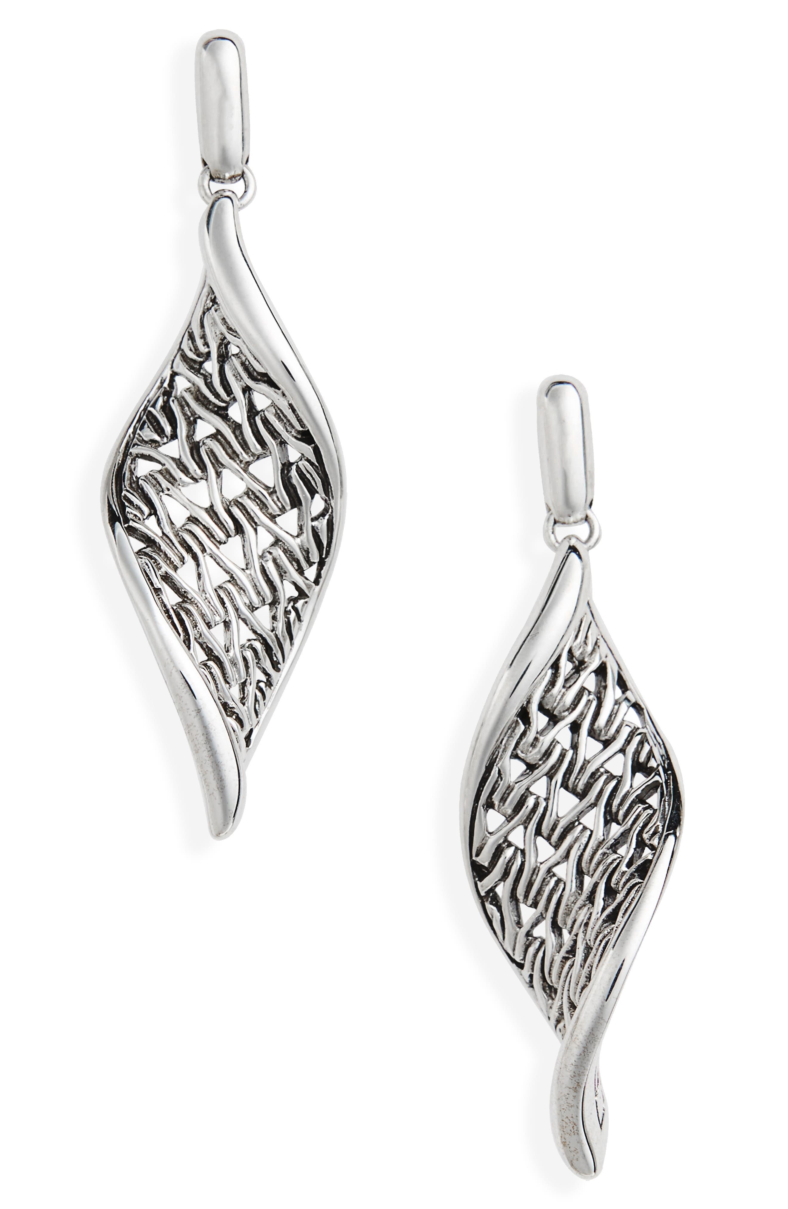Classic Chain Wave Silver Drop Earrings,                             Main thumbnail 1, color,                             Silver