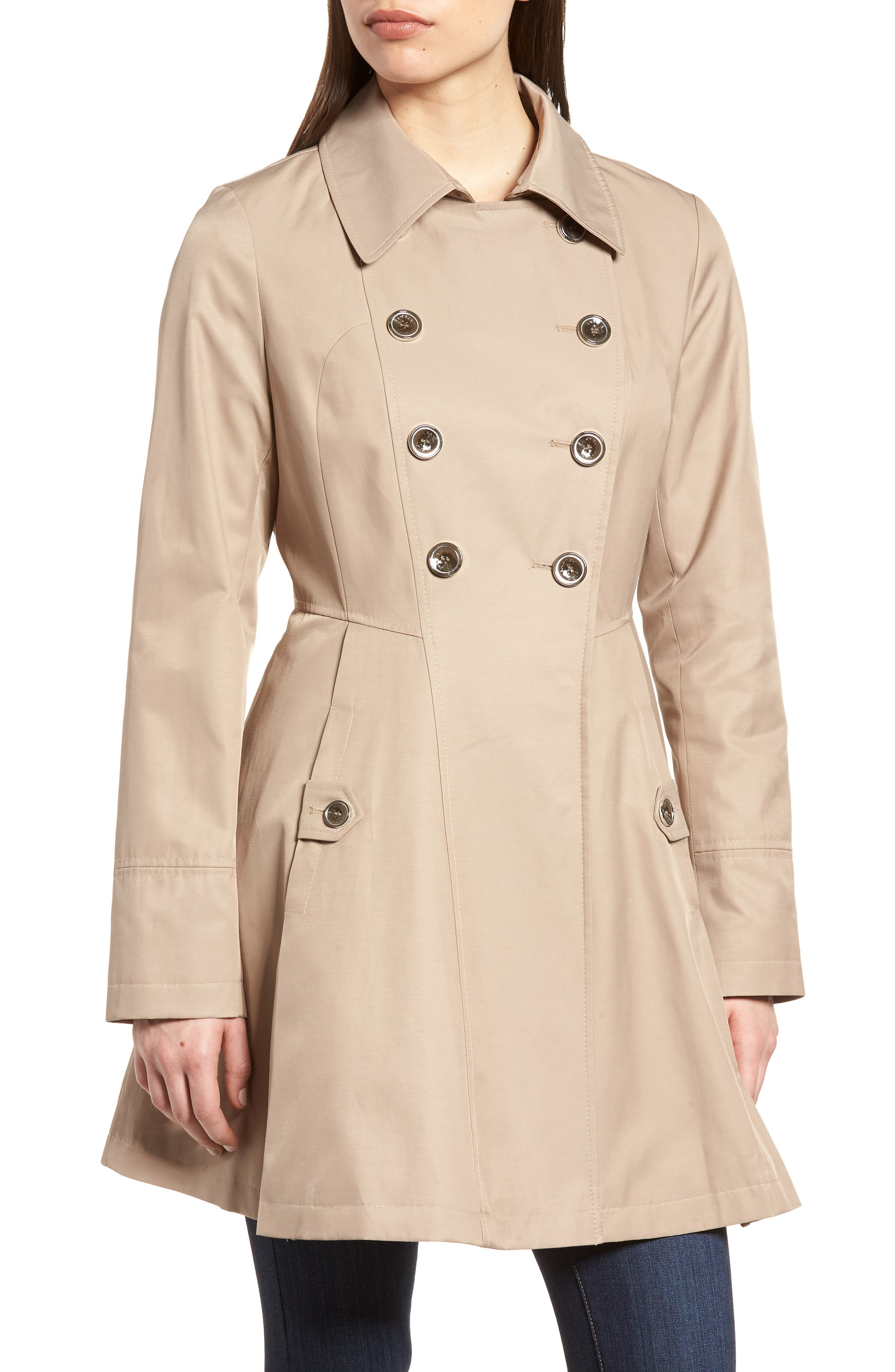 Double Breasted Fit & Flare Trench Coat,                             Alternate thumbnail 4, color,                             Sand