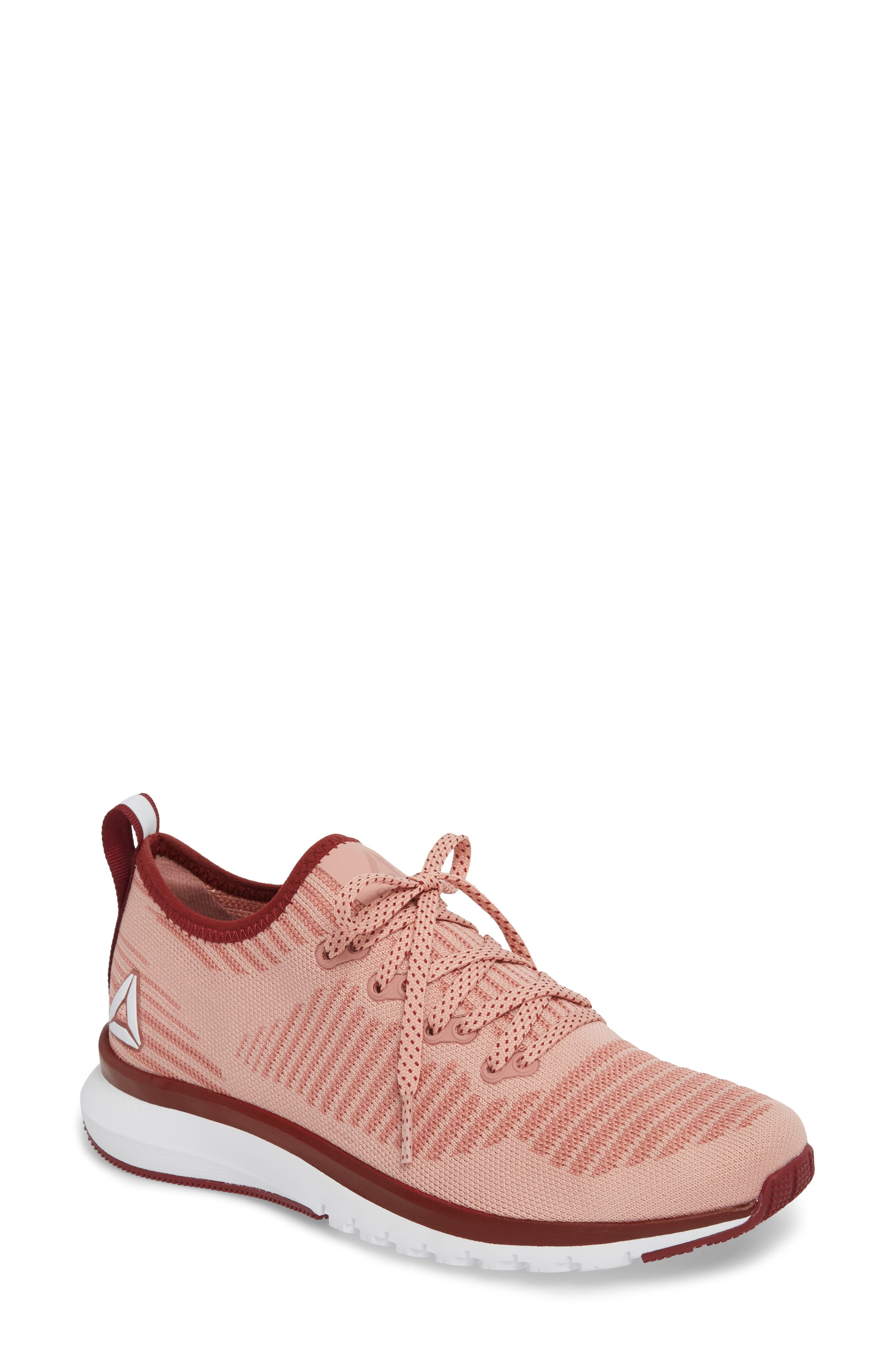 Print Run Smooth Ultra Knit Running Shoe,                         Main,                         color, Chalk Pink/ Urban Maroon