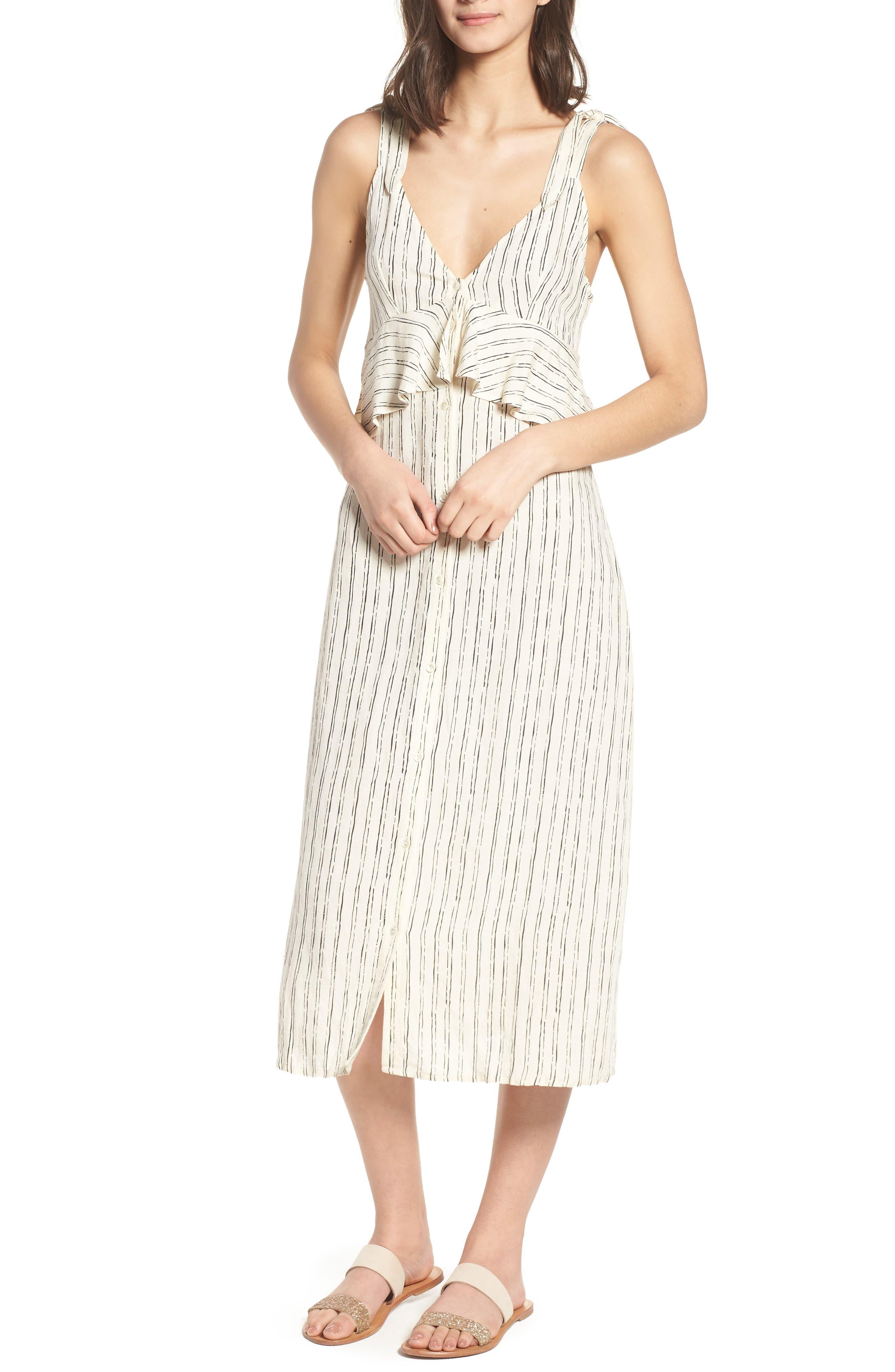 Loosen Up Linen Blend Sundress,                             Main thumbnail 1, color,                             White Cap