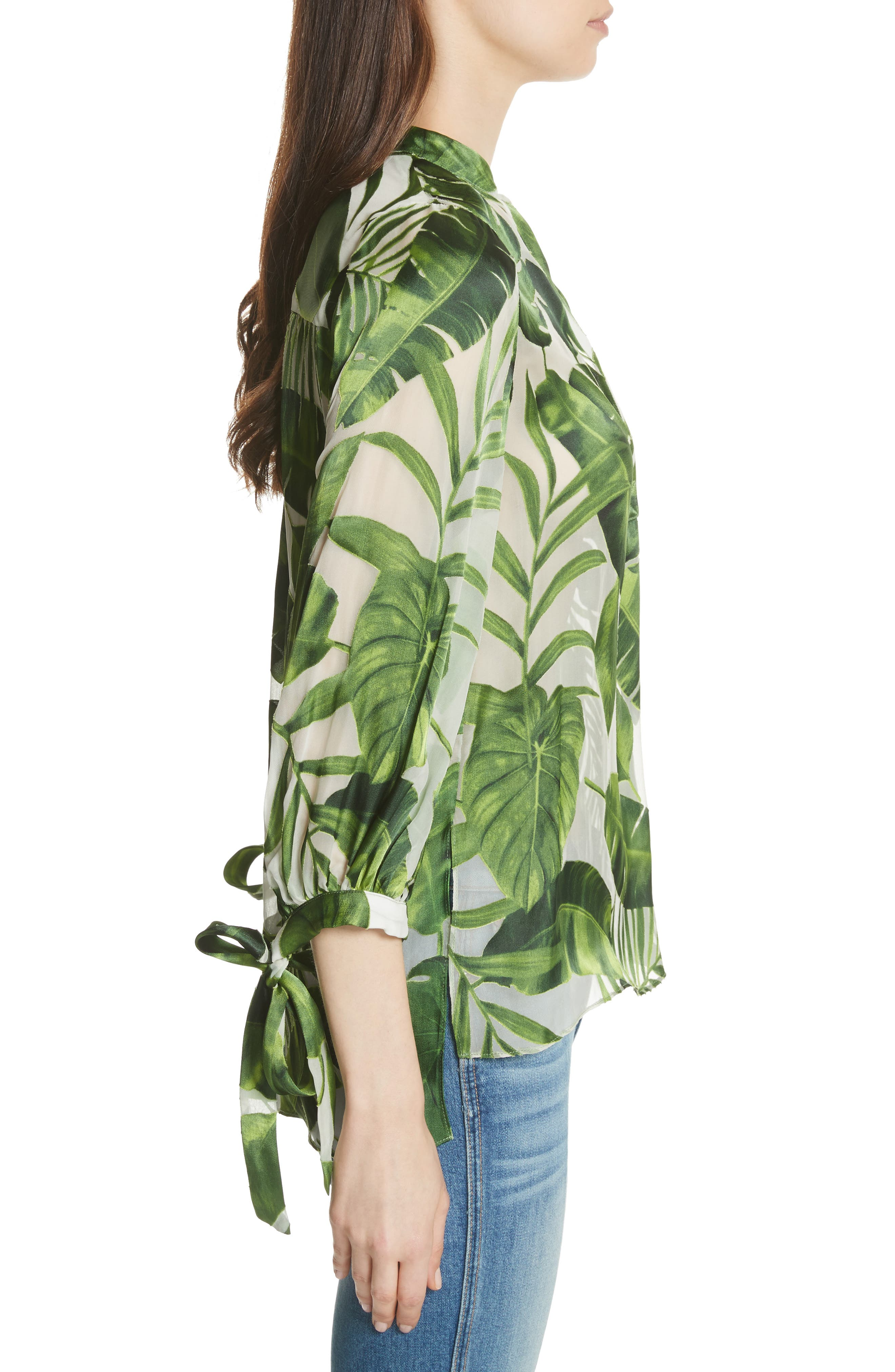 Sheila Tie Sleeve Top,                             Alternate thumbnail 3, color,                             Tropical Leaves