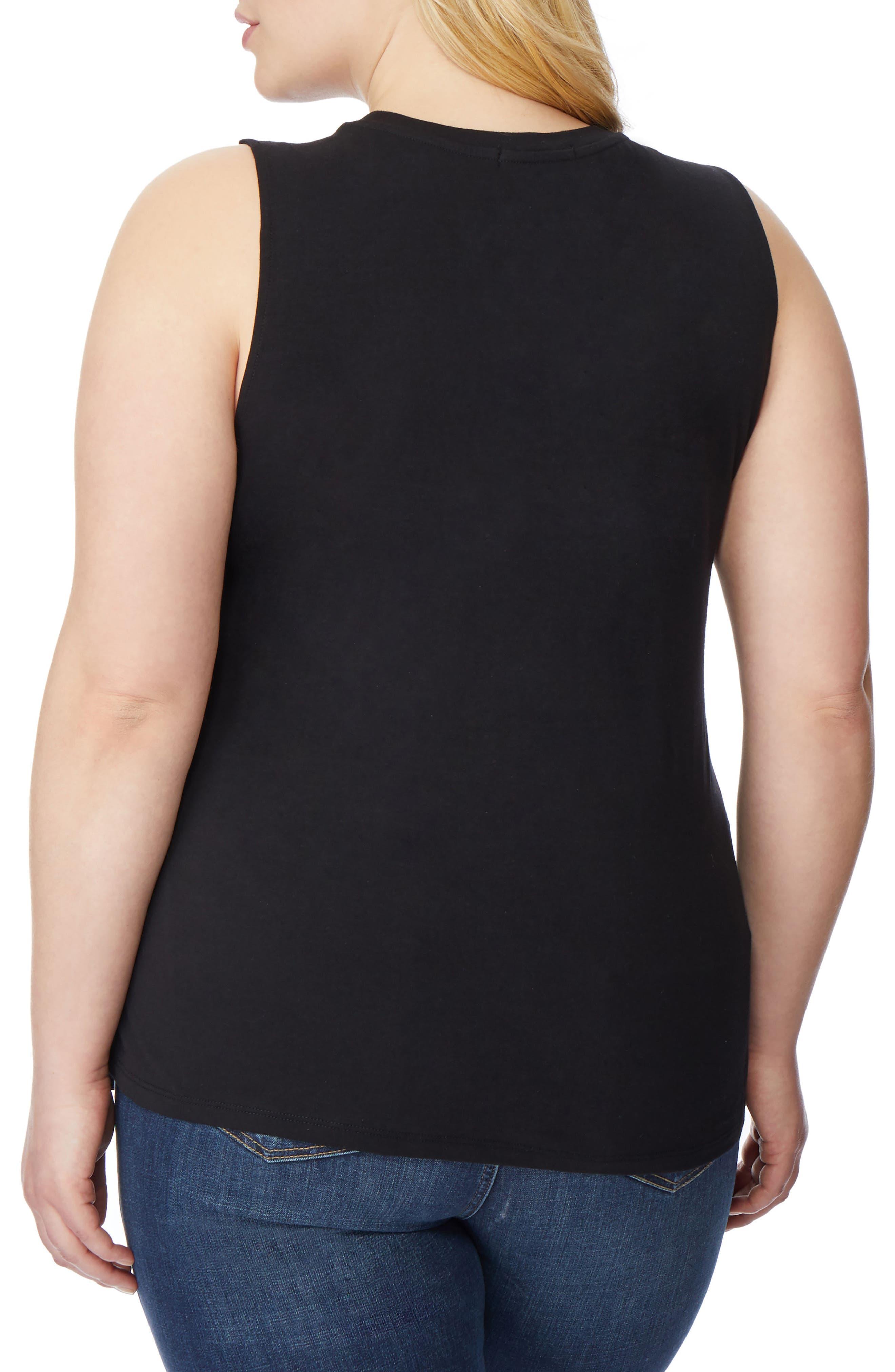 Asymmetrical Knit Tank,                             Alternate thumbnail 2, color,                             Black