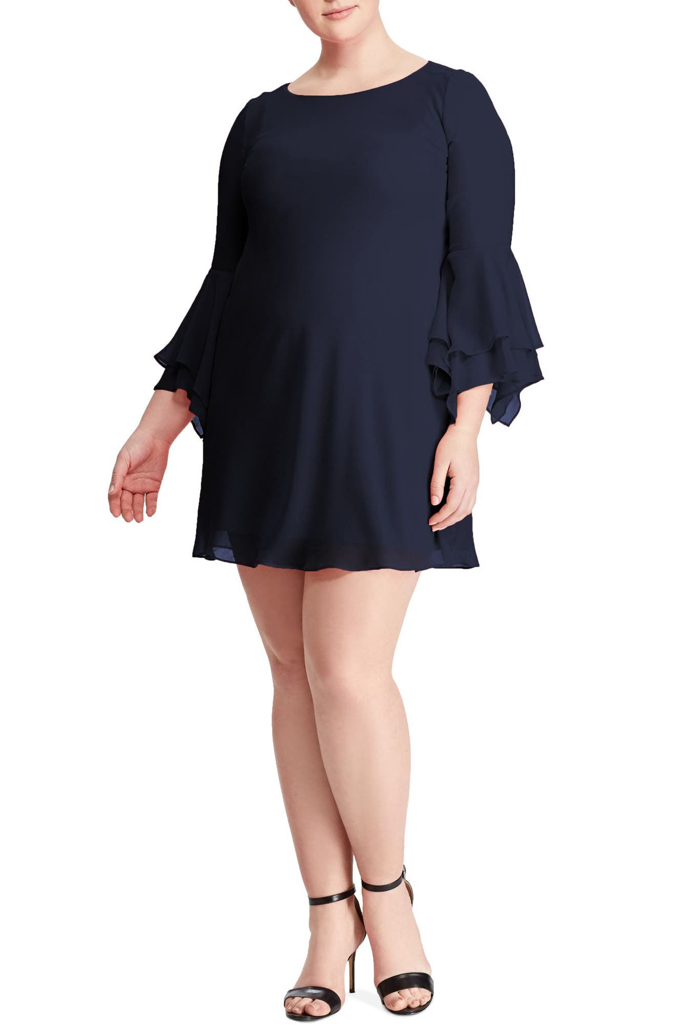 Main Image - Lauren Ralph Lauren Bell Sleeve A-Line Dress (Plus Size)