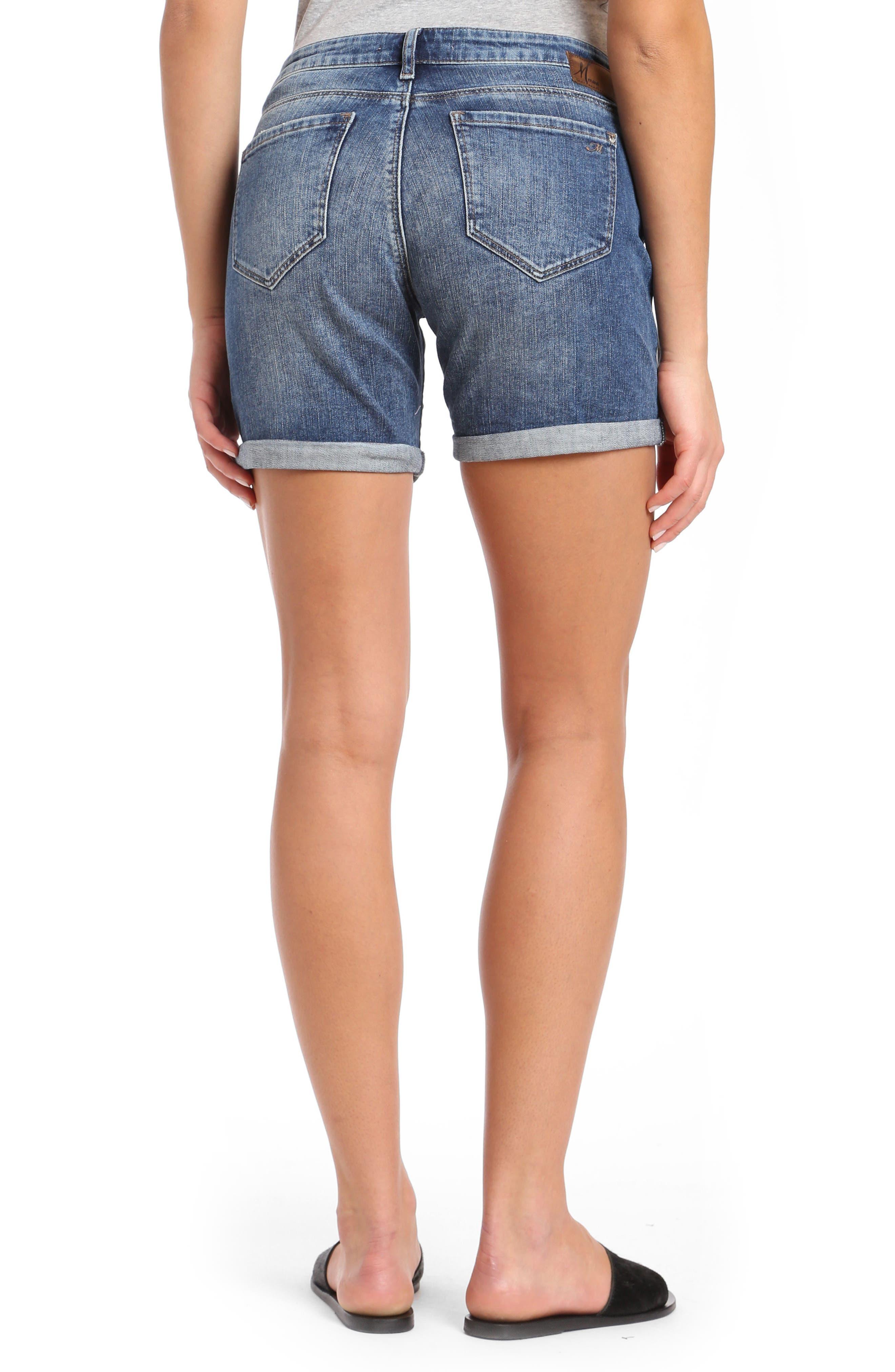 Pixie Denim Shorts,                             Alternate thumbnail 2, color,                             Dark Vintage