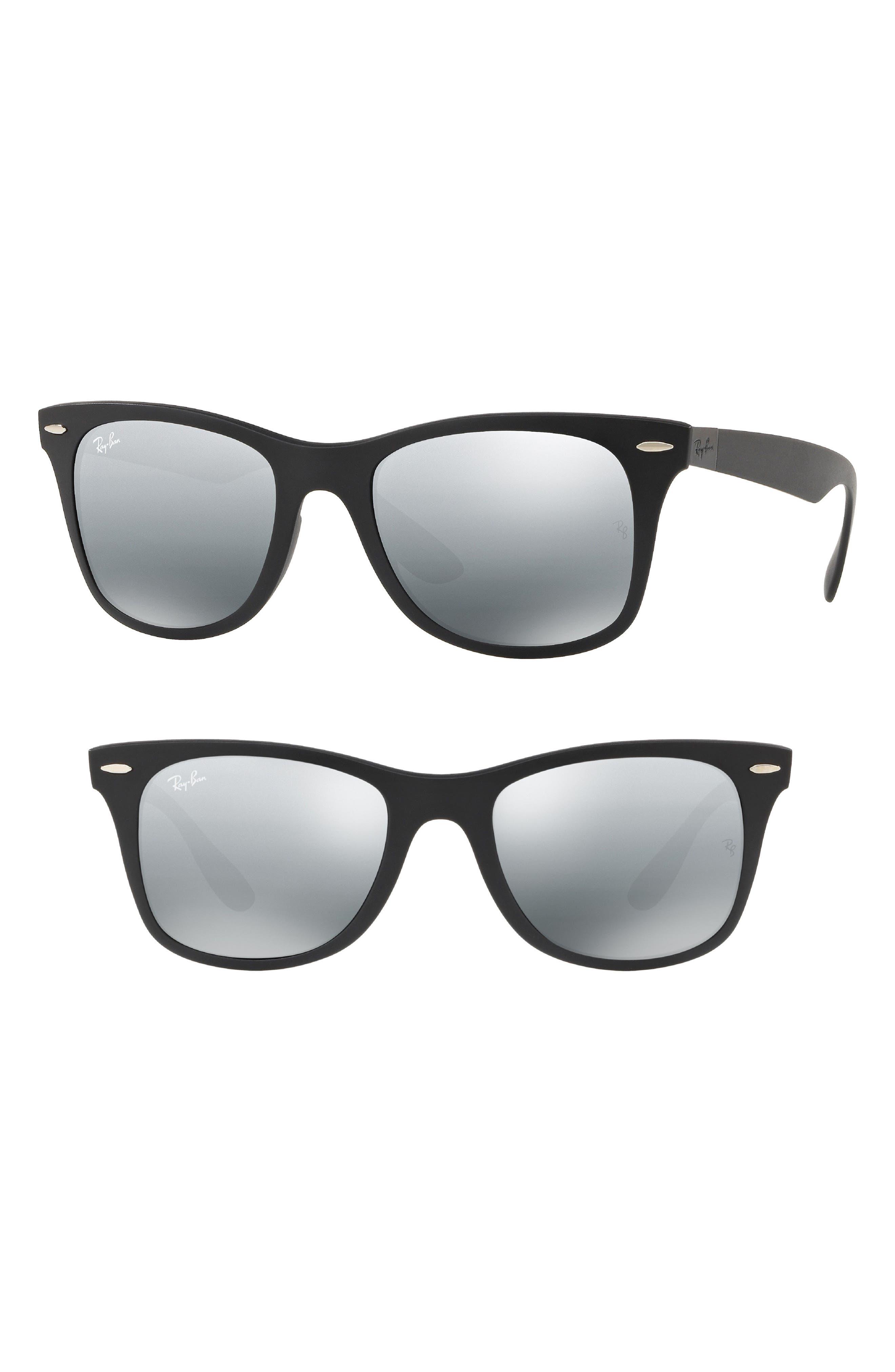 Tech Wayfarer Liteforce 52mm Sunglasses,                         Main,                         color, Matte Black