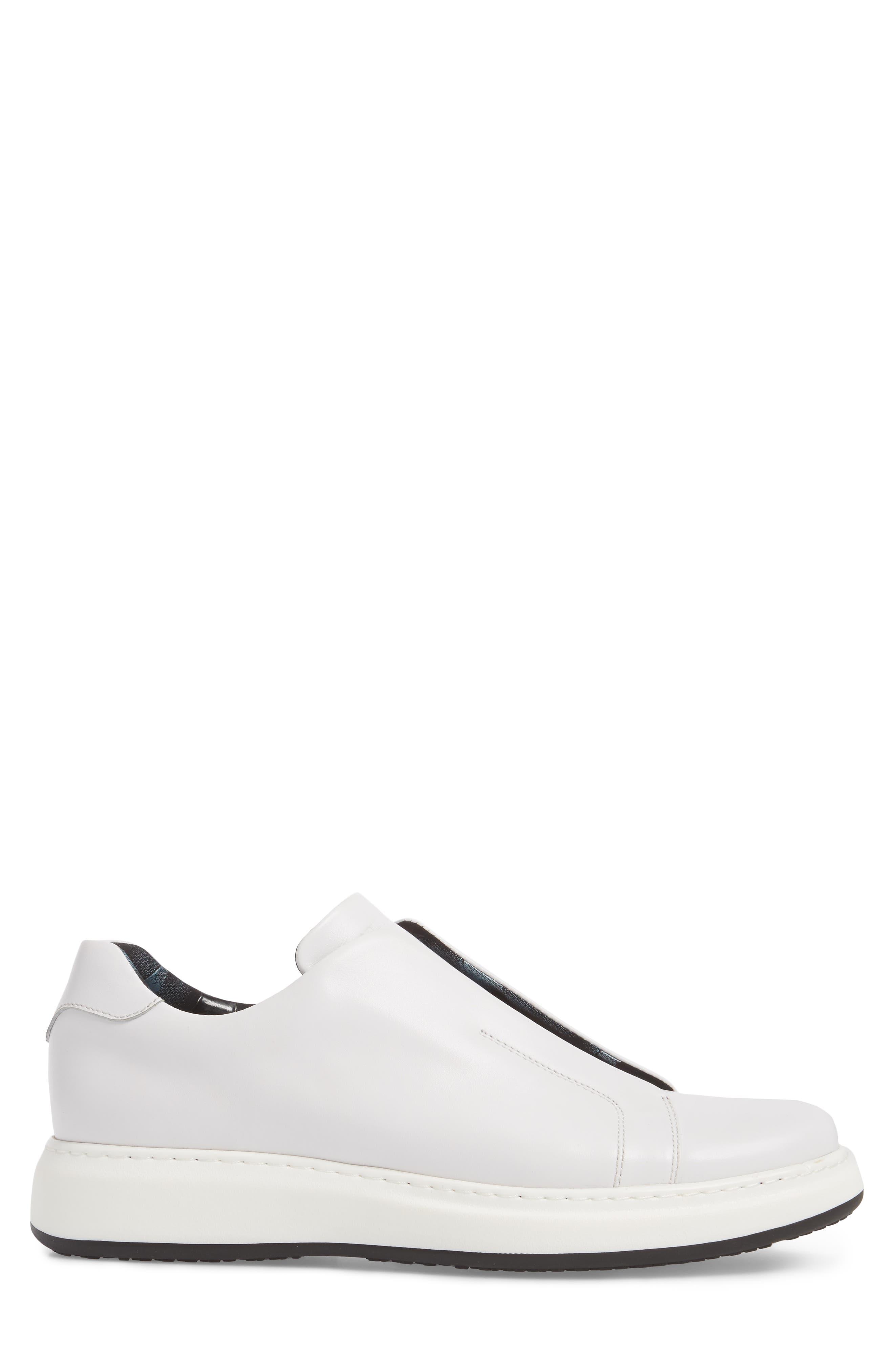 Laceless Sneaker,                             Alternate thumbnail 3, color,                             White