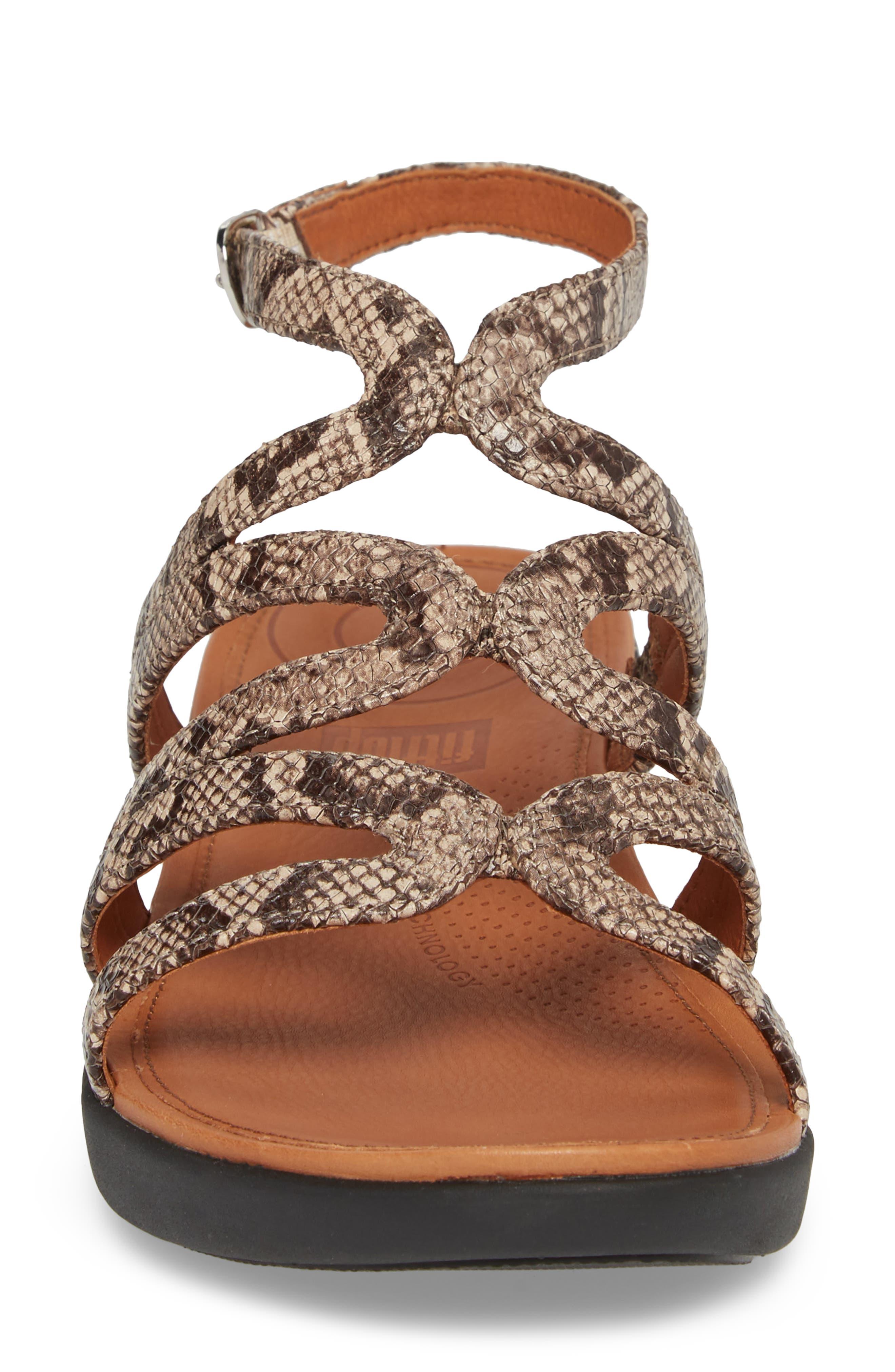 Strata Gladiator Sandal,                             Alternate thumbnail 4, color,                             Taupe Snake Print Leather