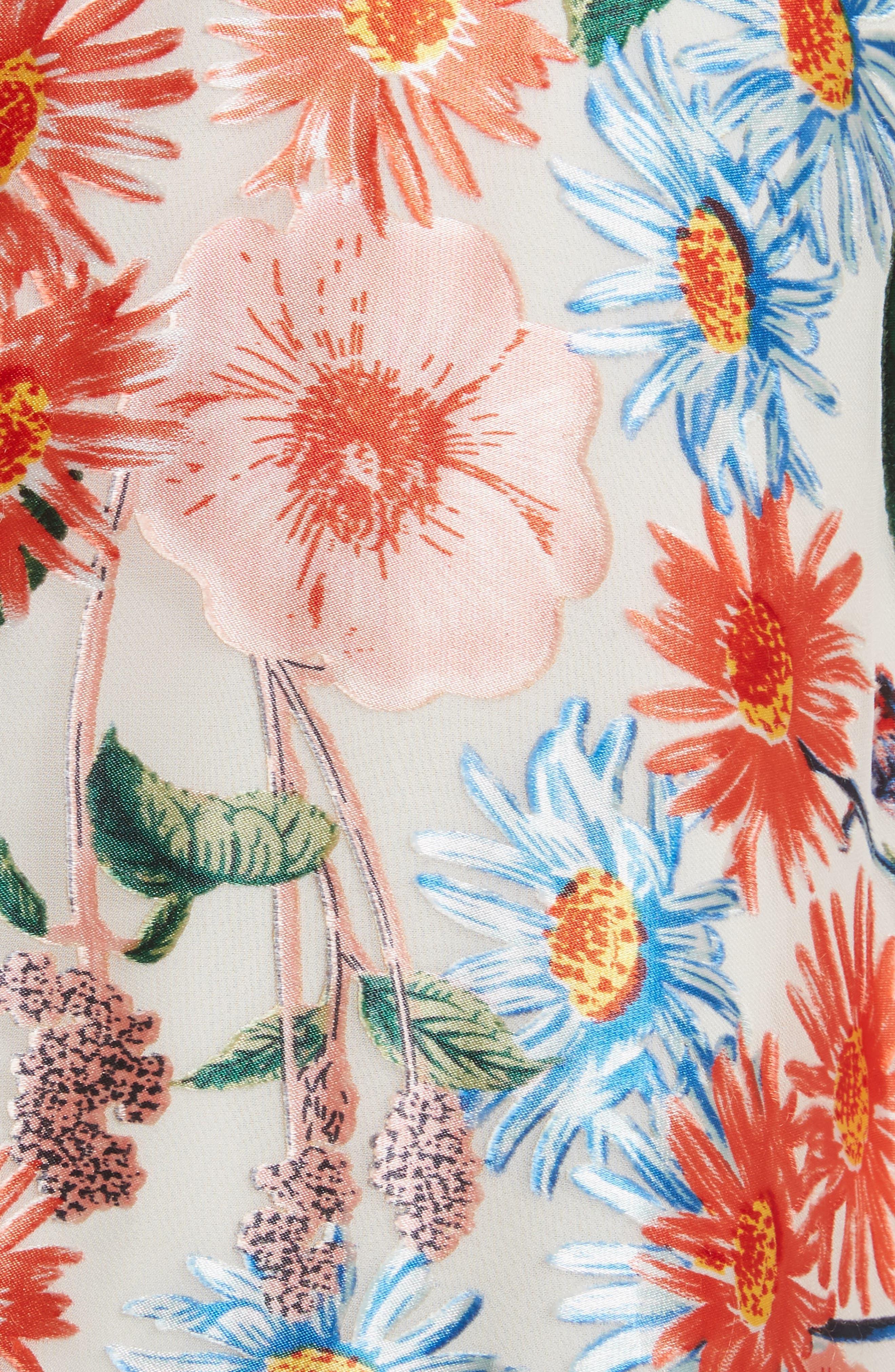 Nanette Floral Faux Wrap Skirt,                             Alternate thumbnail 5, color,                             Floral Fields