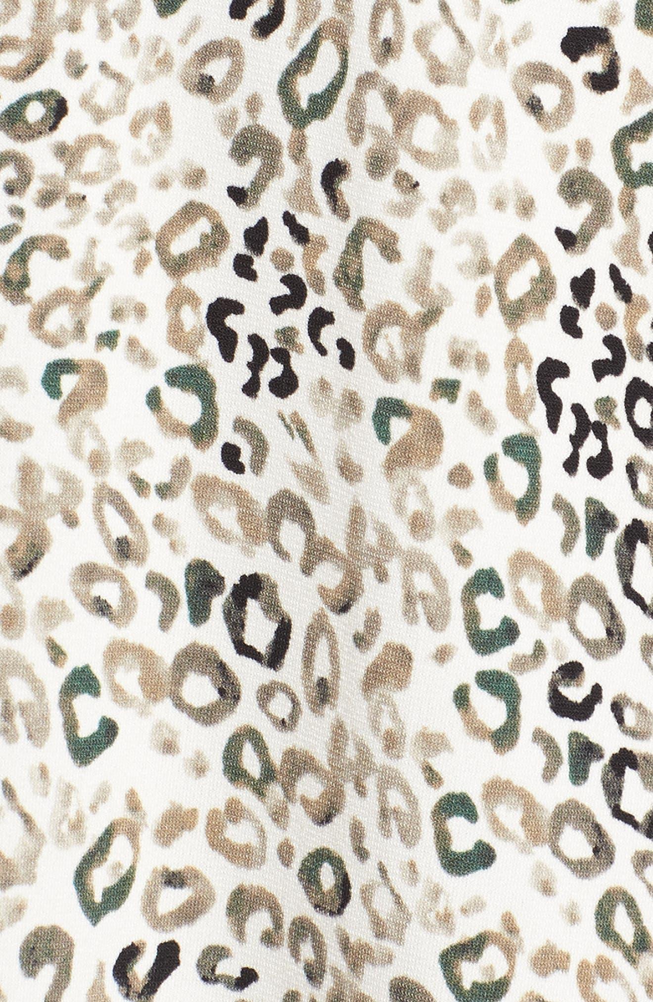 Leopard Print Maxi Dress,                             Alternate thumbnail 5, color,                             103-New Ivory