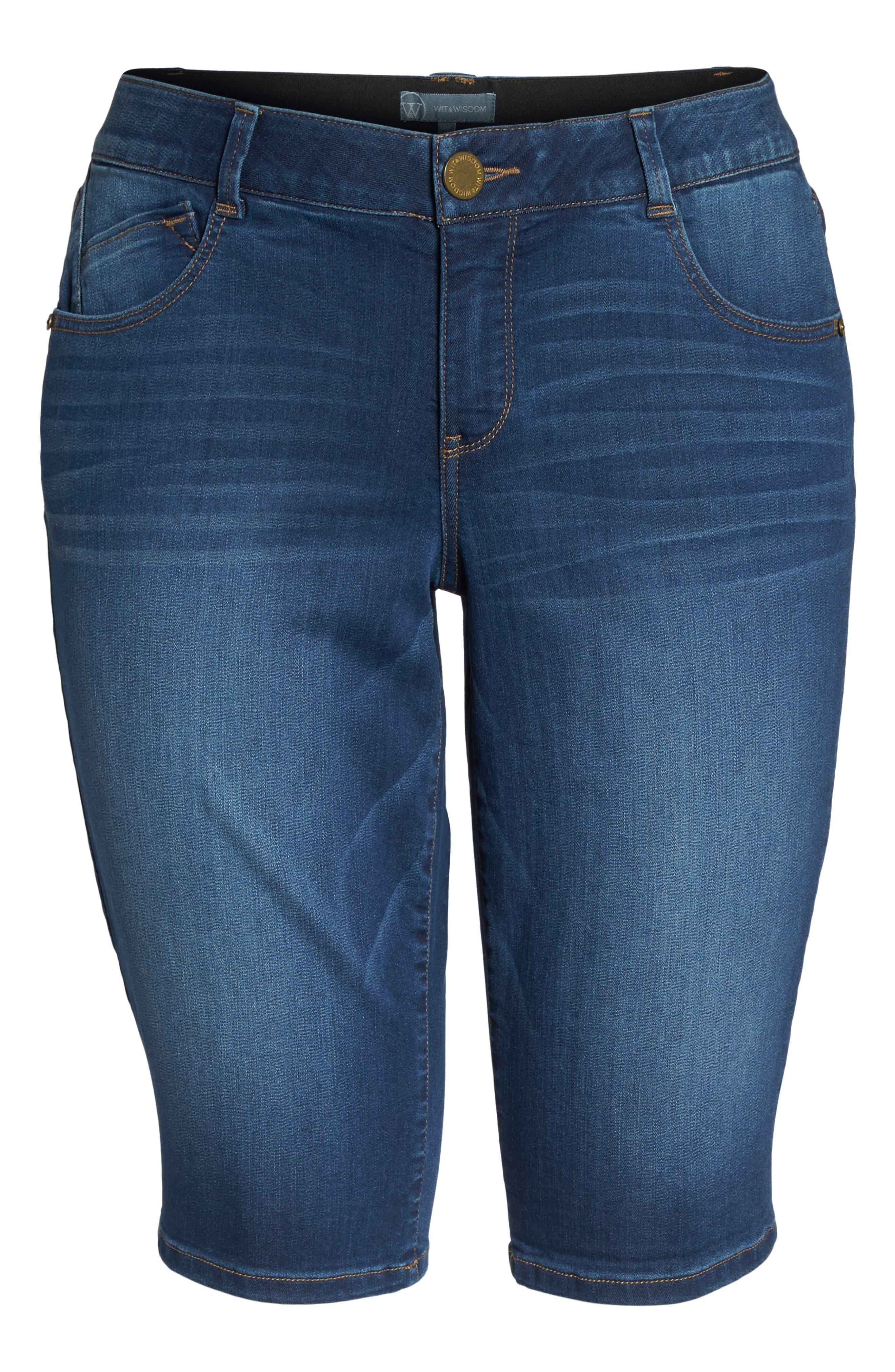 Ab-solution Denim Bermuda Shorts,                             Alternate thumbnail 7, color,                             Blue