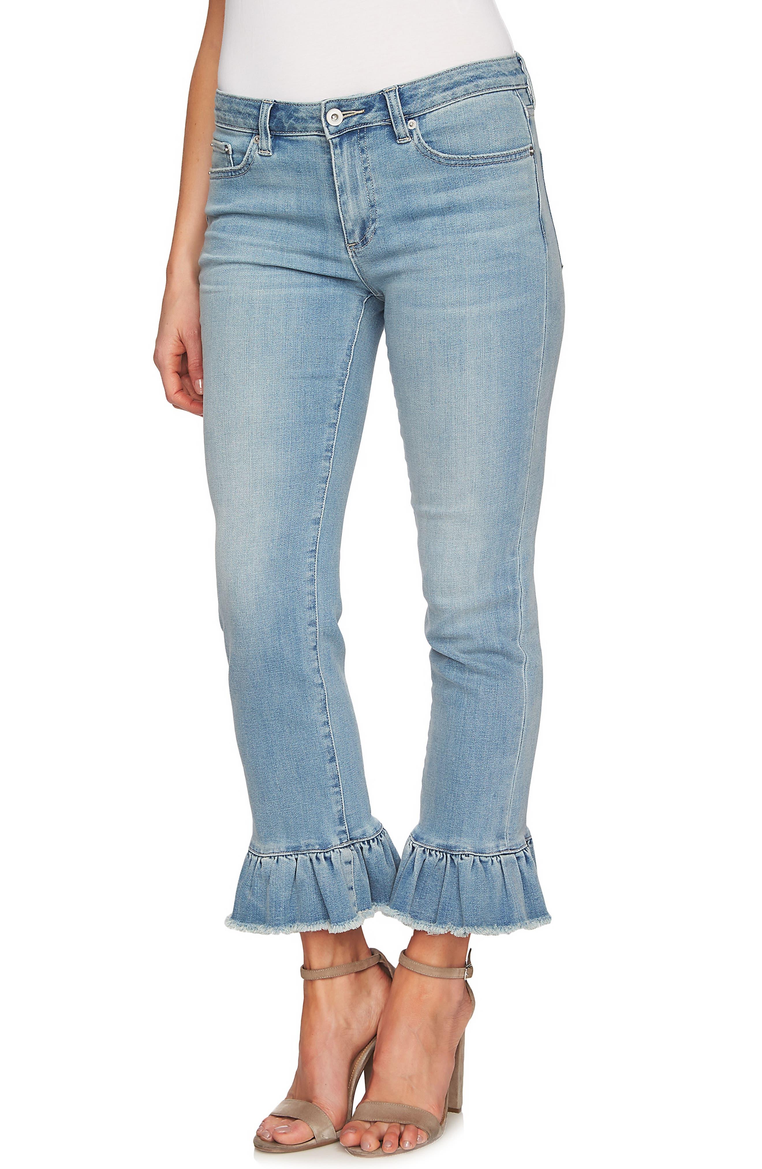 Ruffle Hem Ankle Jeans,                             Alternate thumbnail 3, color,                             Sun Washed Blue