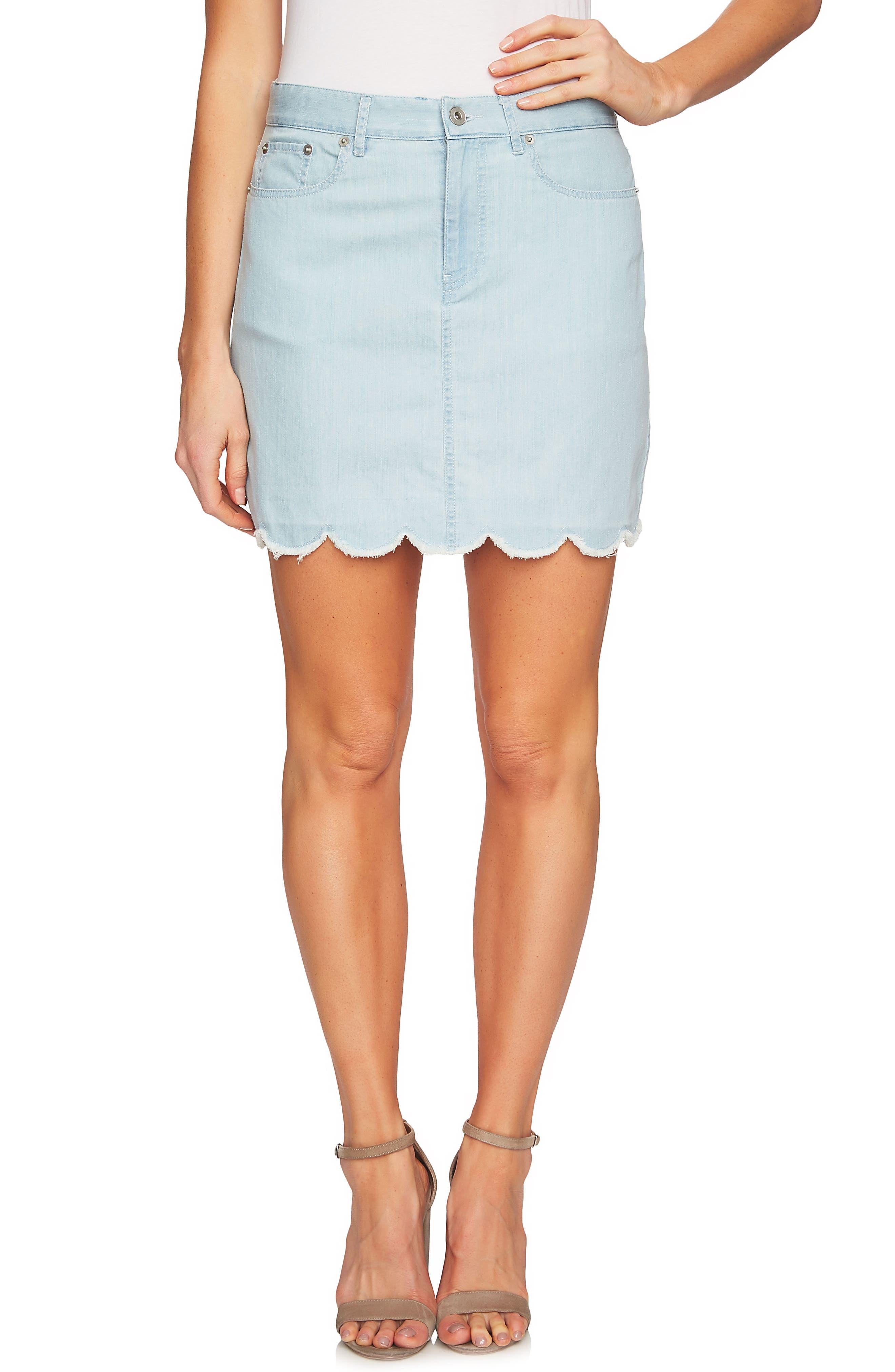 Scalloped Hem Denim Skirt,                             Main thumbnail 1, color,                             Ocean Drift