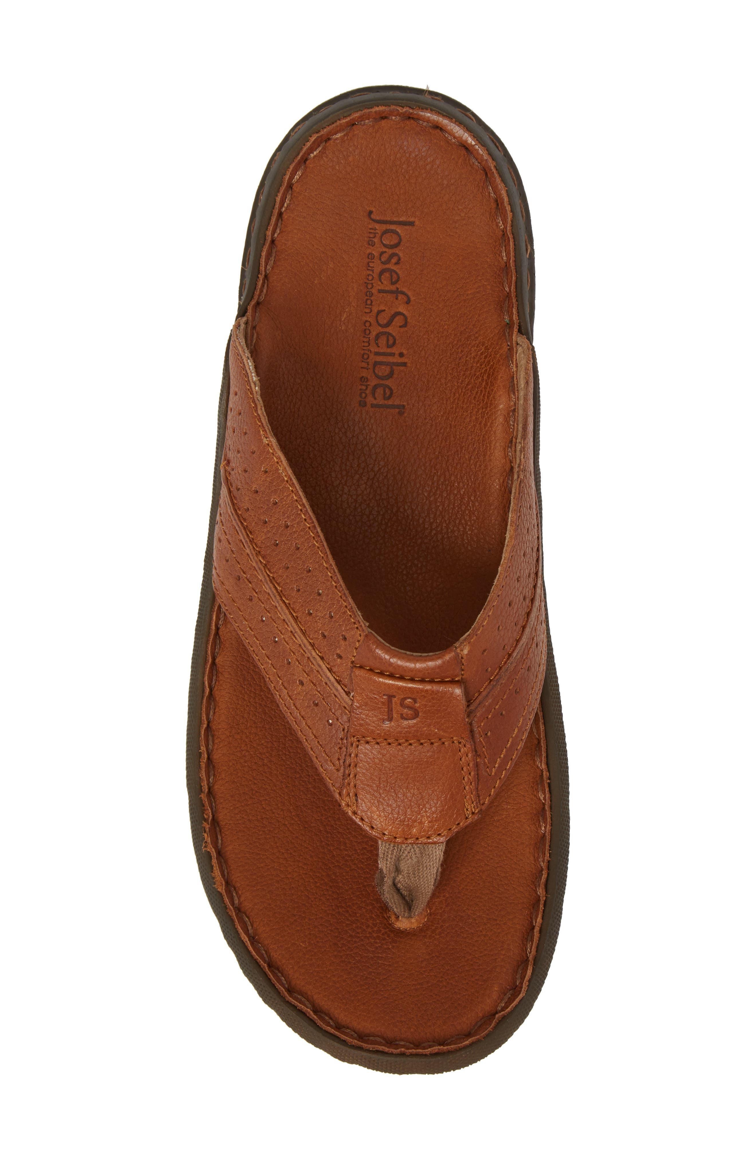 Logan Flip Flop,                             Alternate thumbnail 5, color,                             Brown Leather