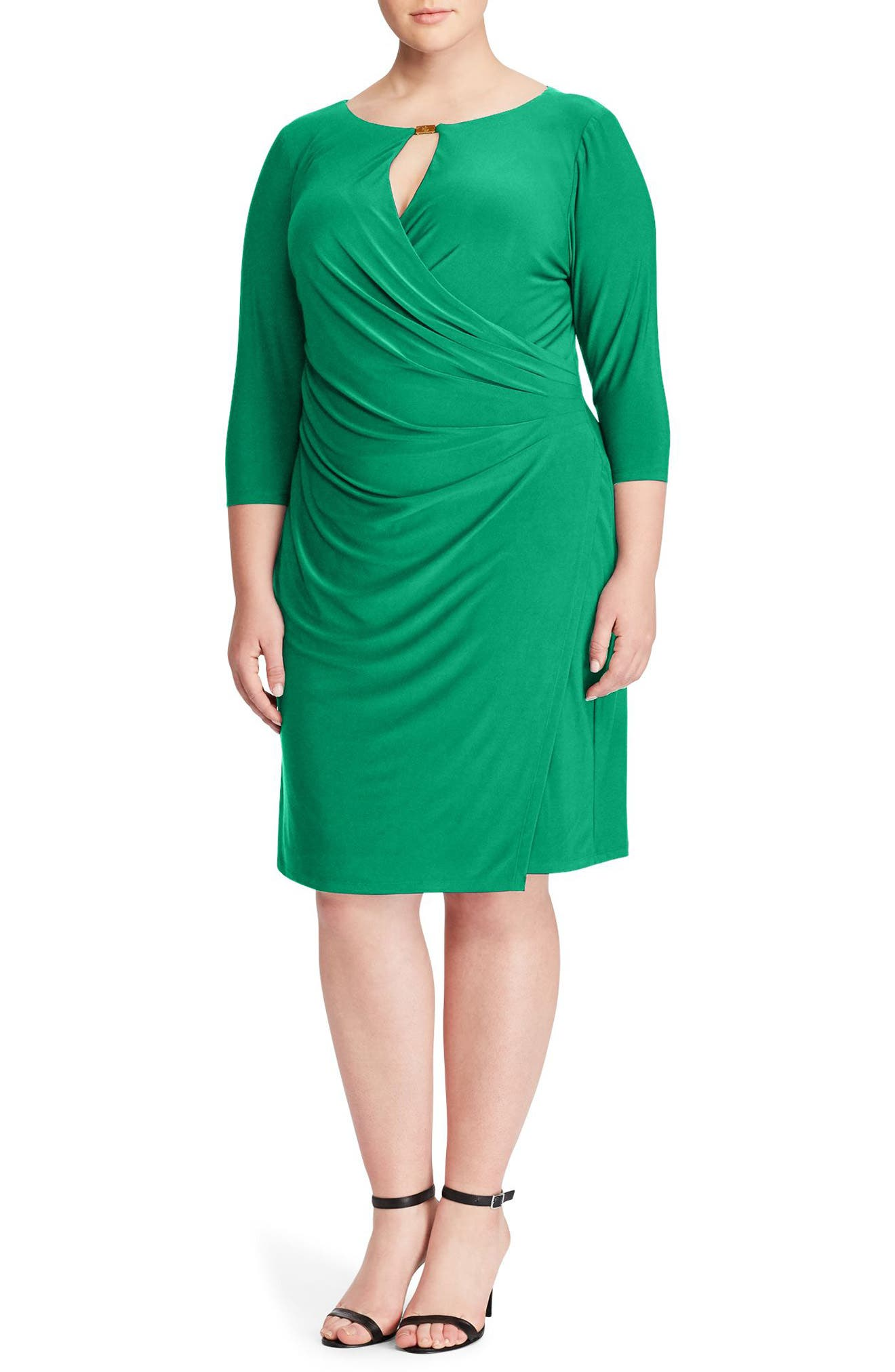 Ruched Jersey Dress,                             Main thumbnail 1, color,                             Argentine Emerald