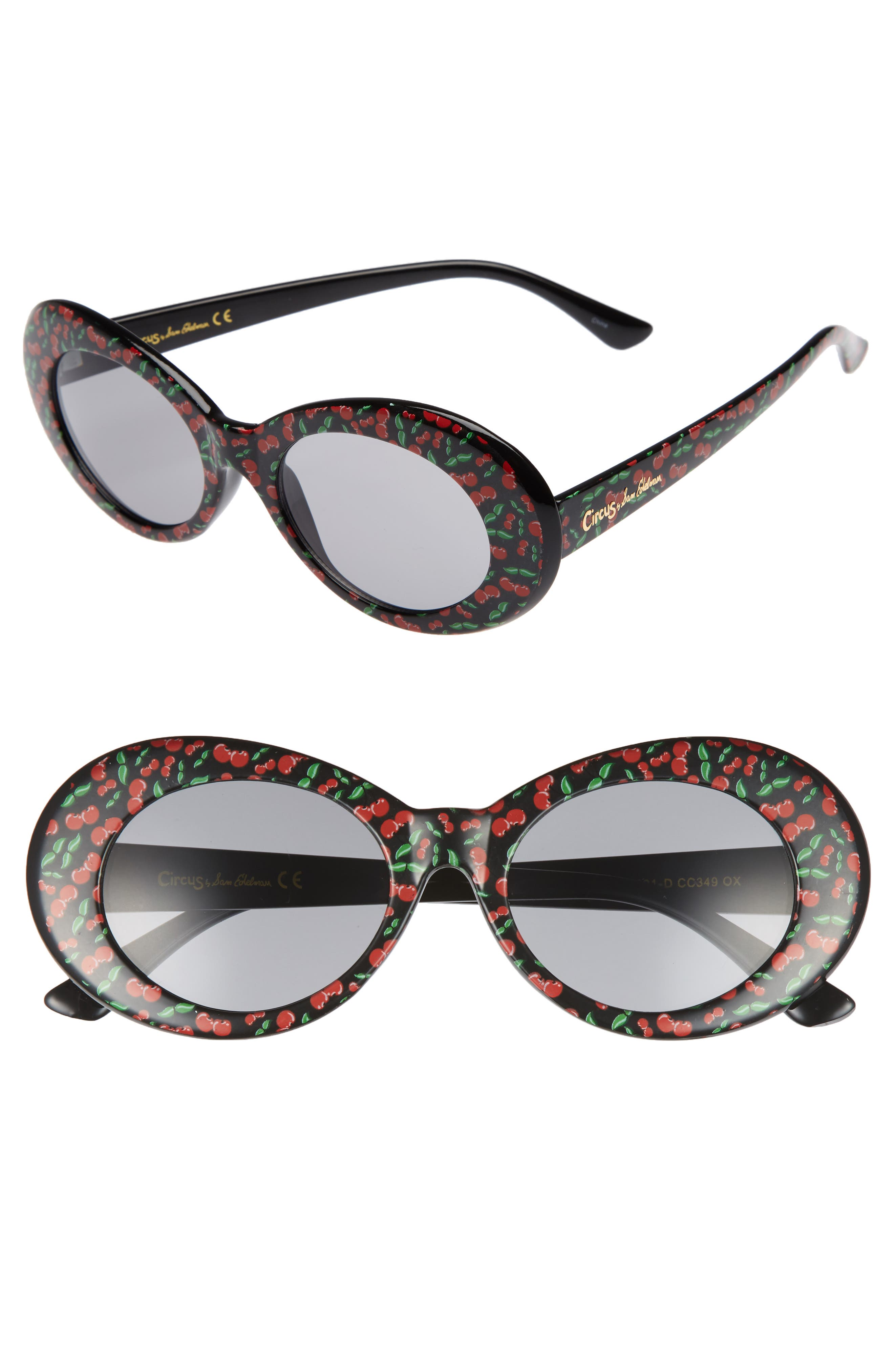50mm Cherry Print Oval Sunglasses,                             Main thumbnail 1, color,                             Black/ Cherry Print