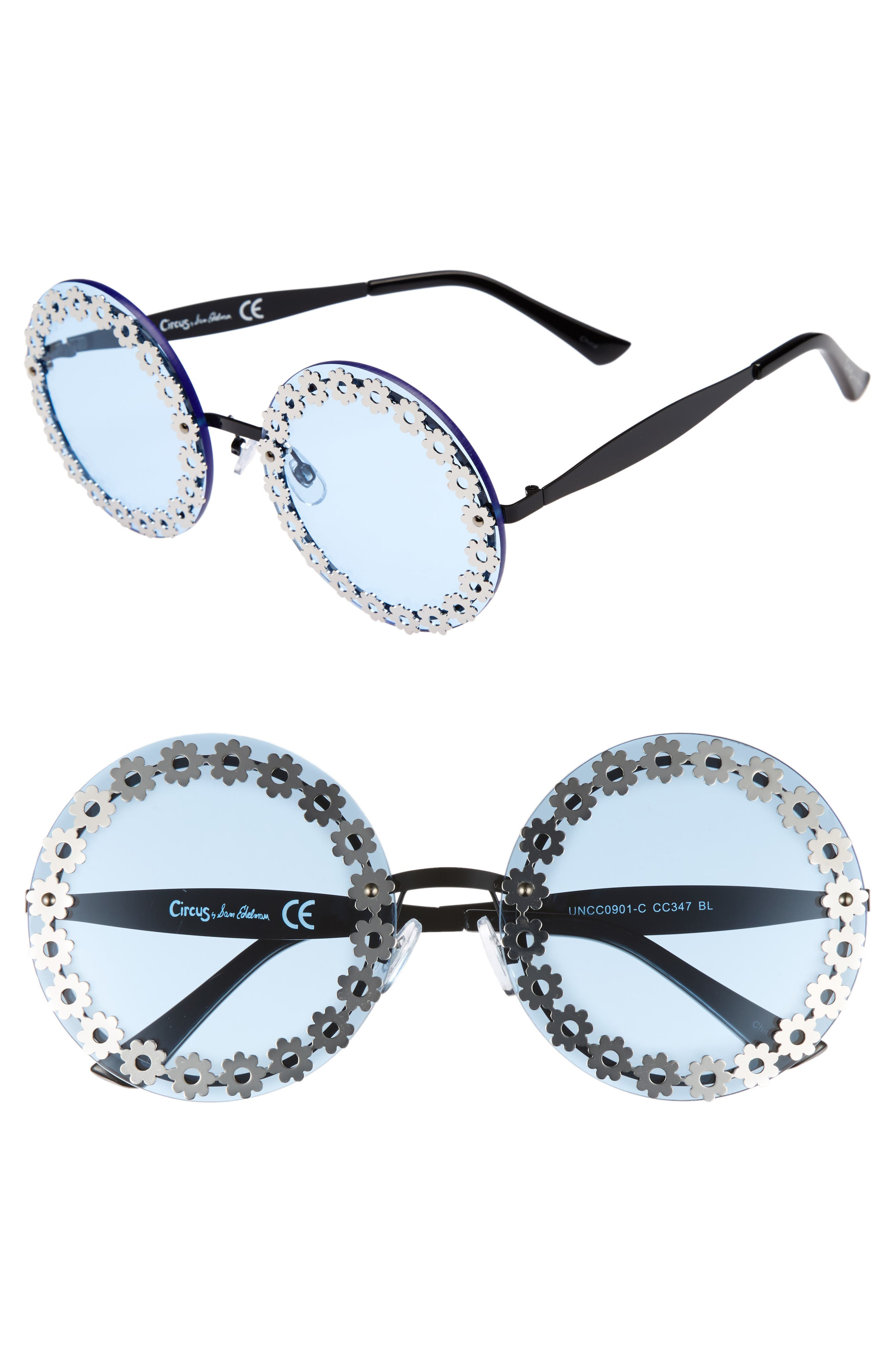 60mm Round Sunglasses,                             Main thumbnail 1, color,                             Blue/ Black
