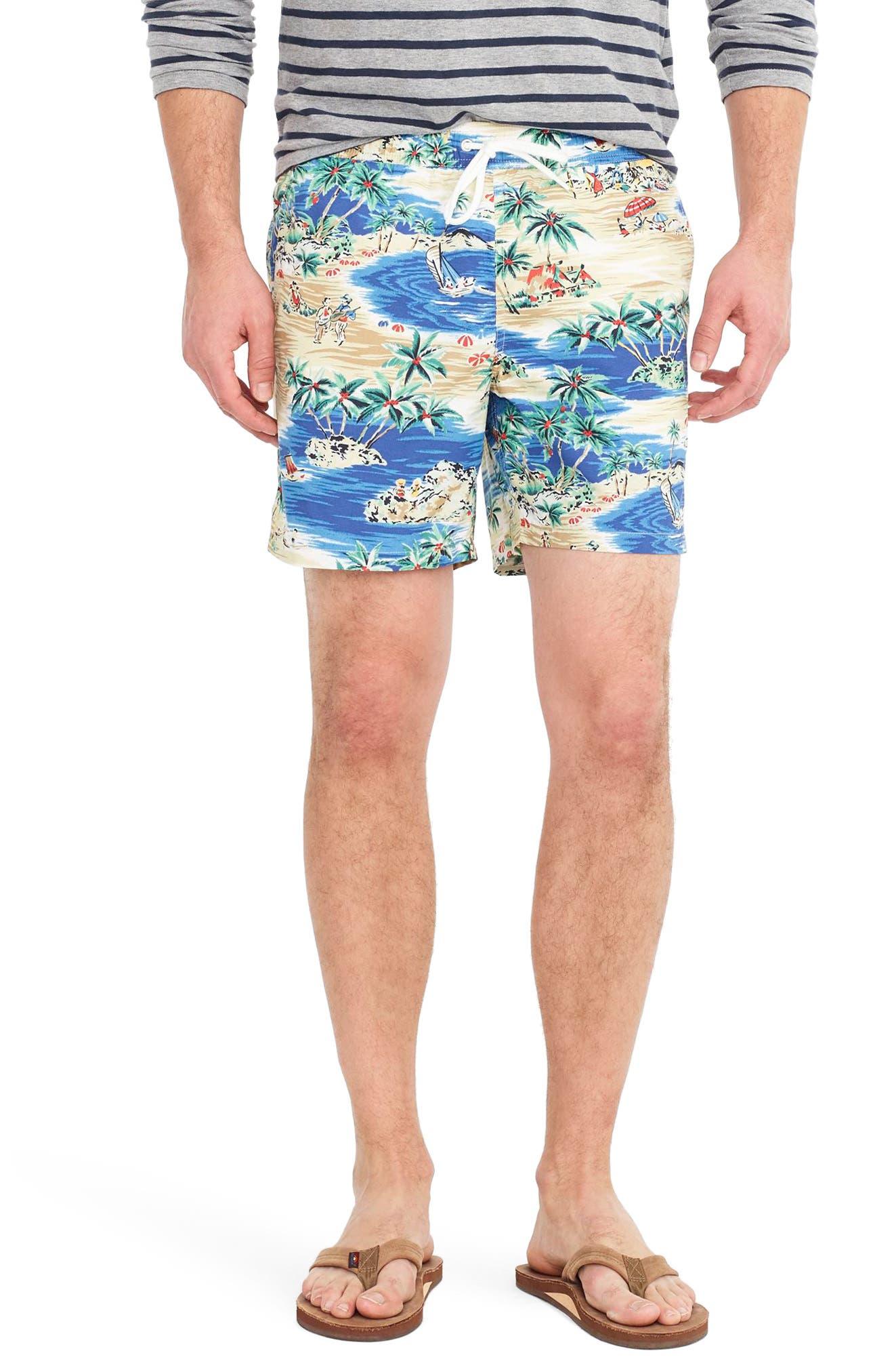 J.Crew Island Print Swim Trunks,                         Main,                         color, Moody Lagoon