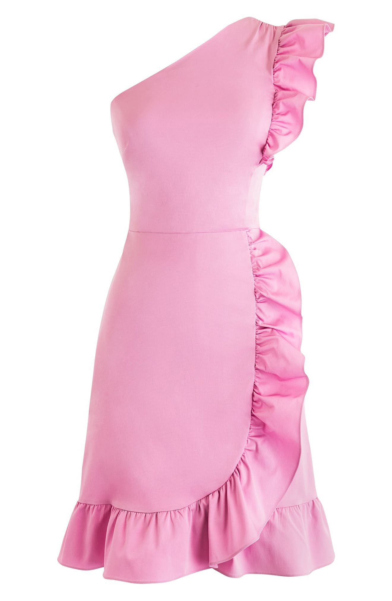 Yass One-Shoulder Ruffle Dress,                         Main,                         color, Sweet Hibiscus