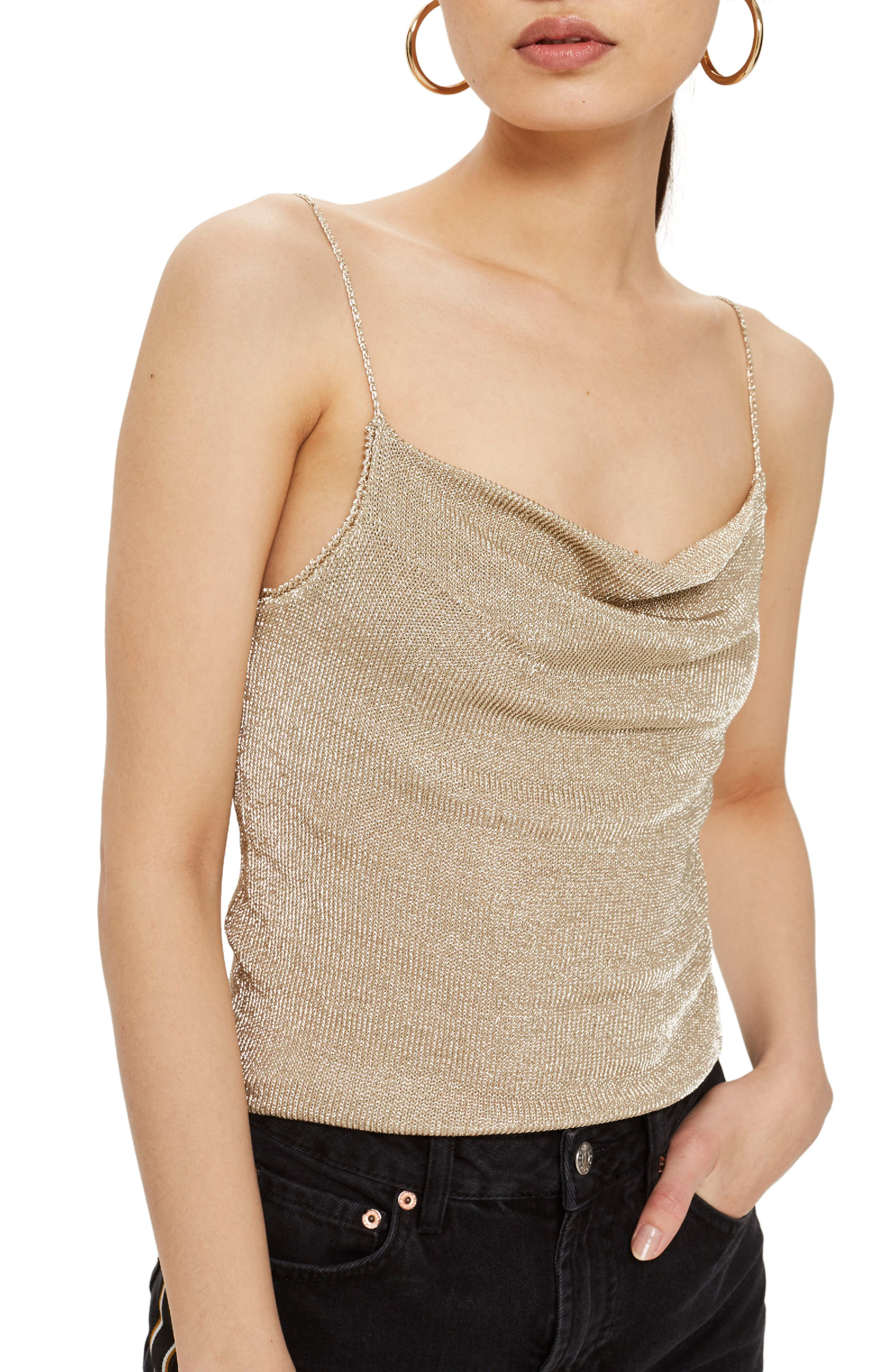 Metal Yarn Cowl Camisole,                         Main,                         color, Gold