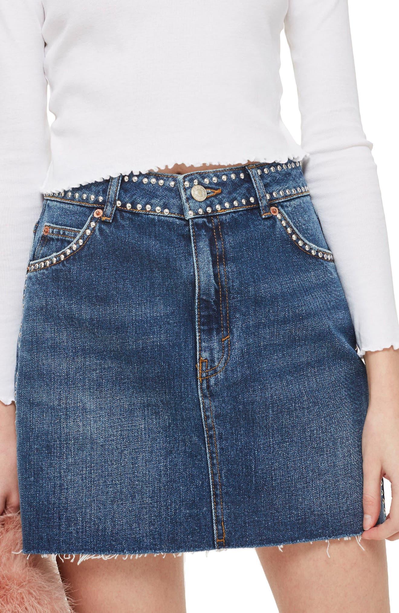 Studded Denim Skirt,                             Main thumbnail 1, color,                             Mid Denim