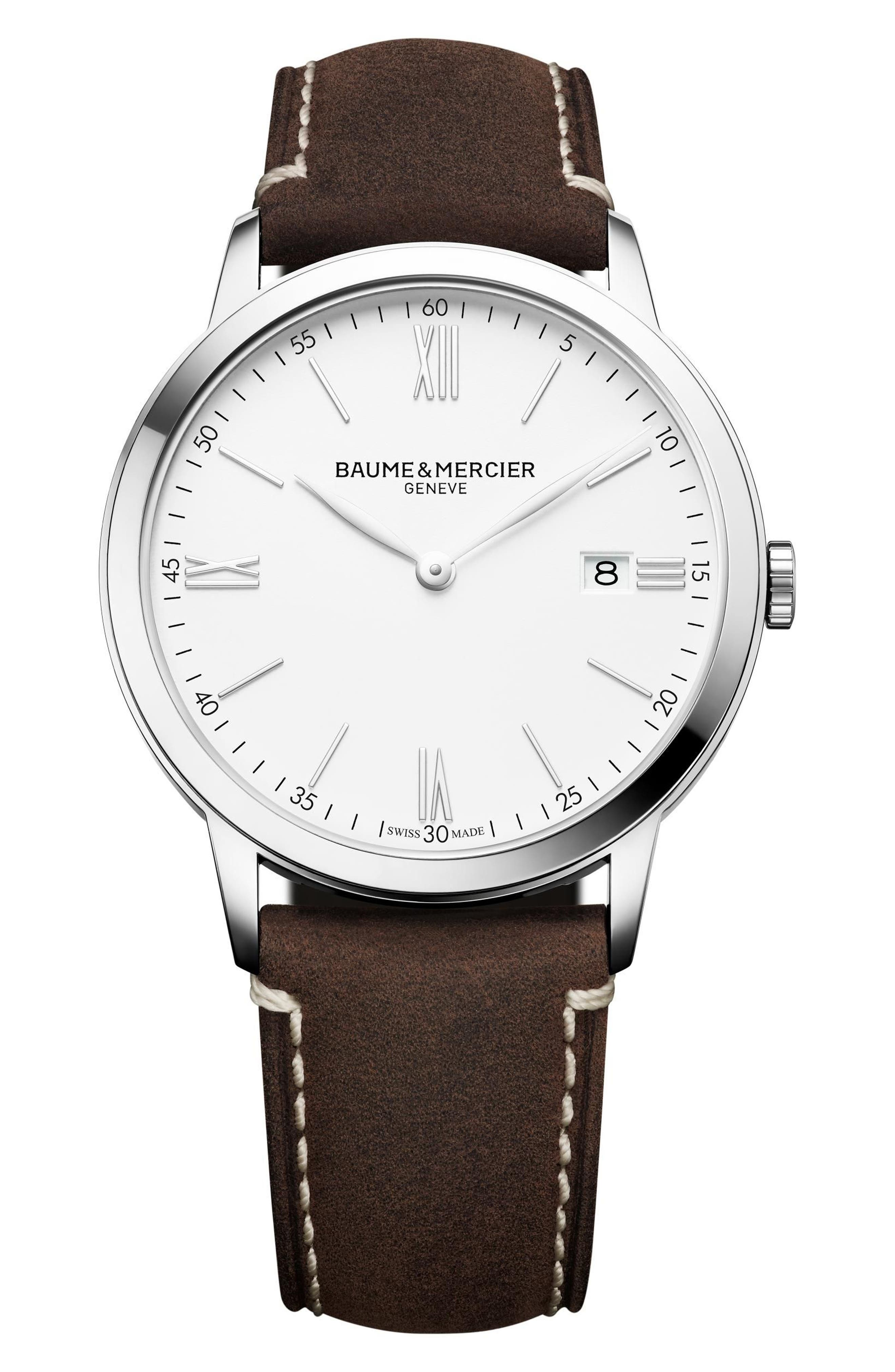 Baume & Mercier Leather Strap Watch, 40mm,                         Main,                         color, White/ Brown