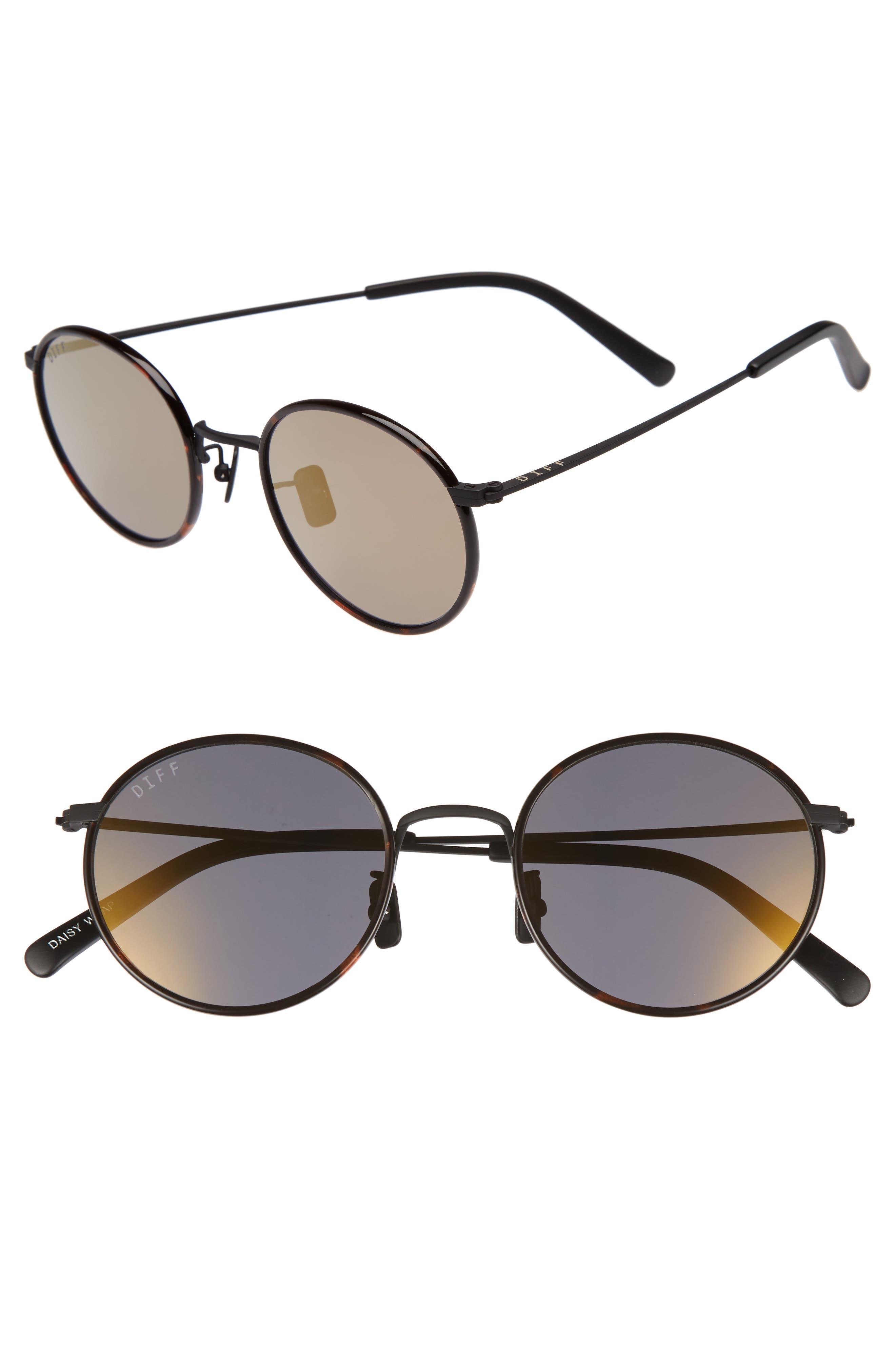 Daisy 57mm Polarized Round Lens Sunglasses,                         Main,                         color, Matte Black/ Grey Blue
