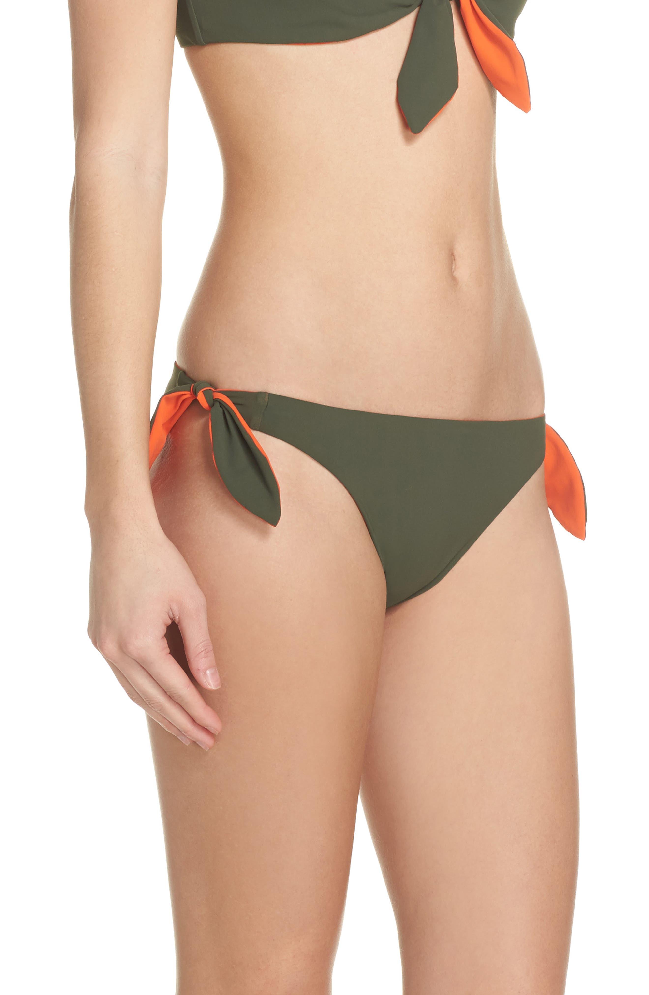 Biarritz Reversible Bikini Bottoms,                             Alternate thumbnail 4, color,                             Green Olive/ Sweet Tangerine