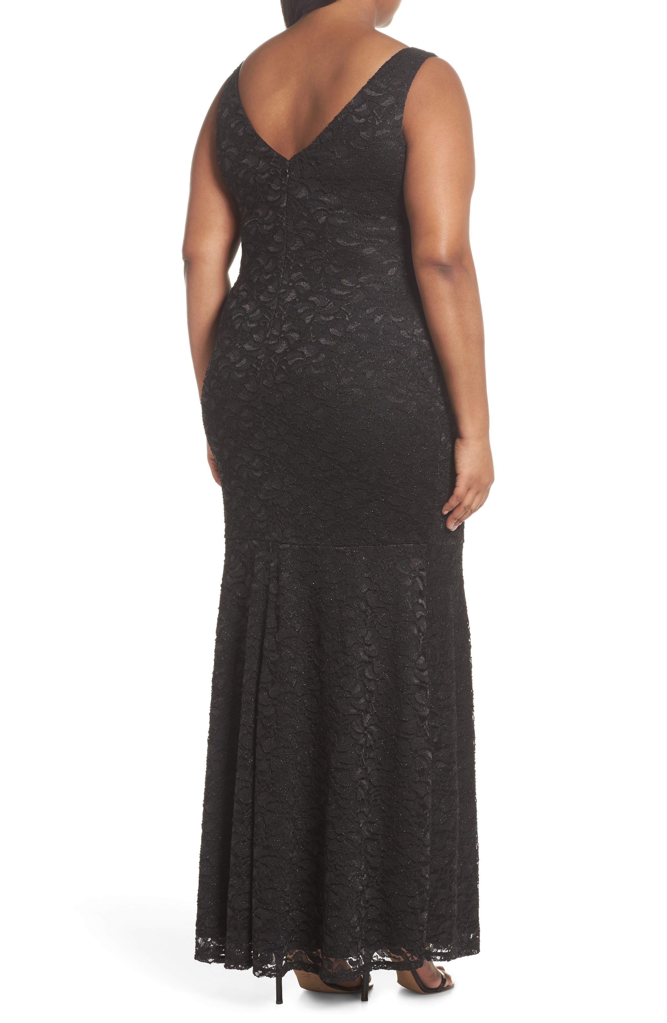 Plunge Lace Trumpet Gown,                             Alternate thumbnail 2, color,                             Black