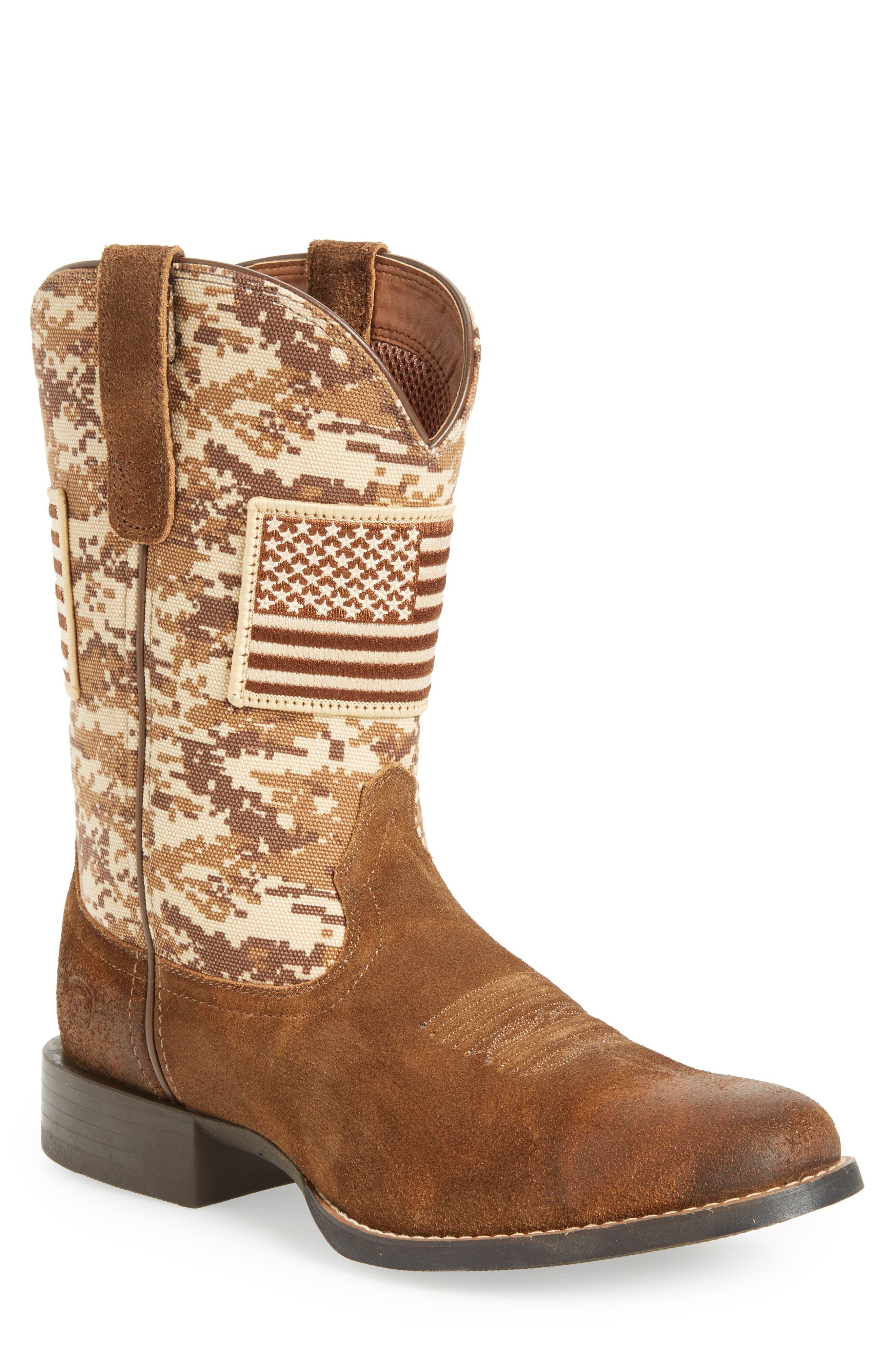 Sport Patriot Cowboy Boot,                             Main thumbnail 1, color,                             Antique Mocha/ Sand Leather